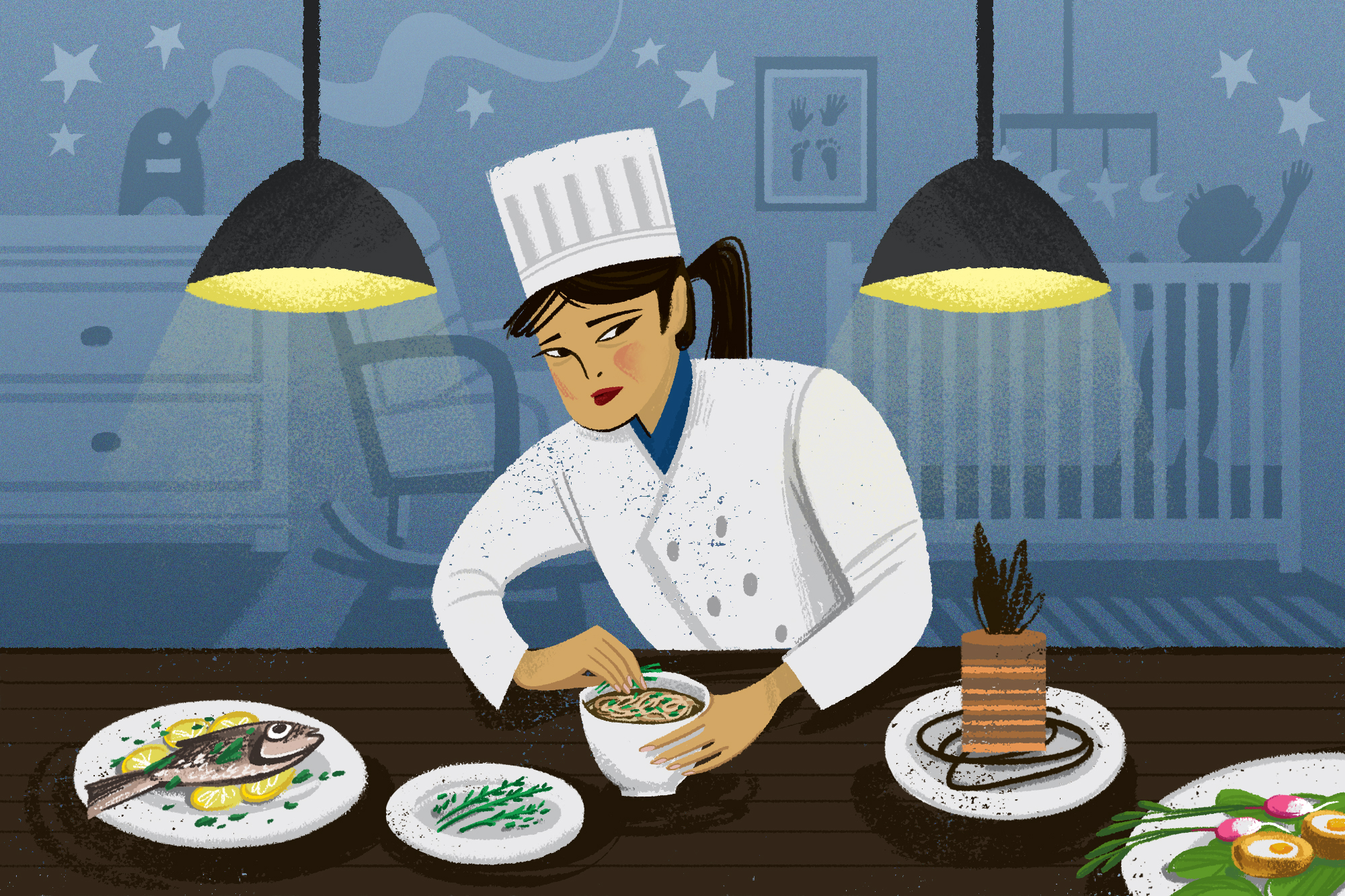 An illustration of a female chef working at a table in front of the faded backdrop of a child's nursery
