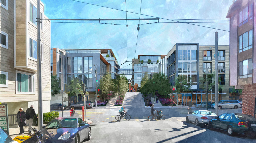 A rendering of new glass-facaded buildings on a street with older brick structures.
