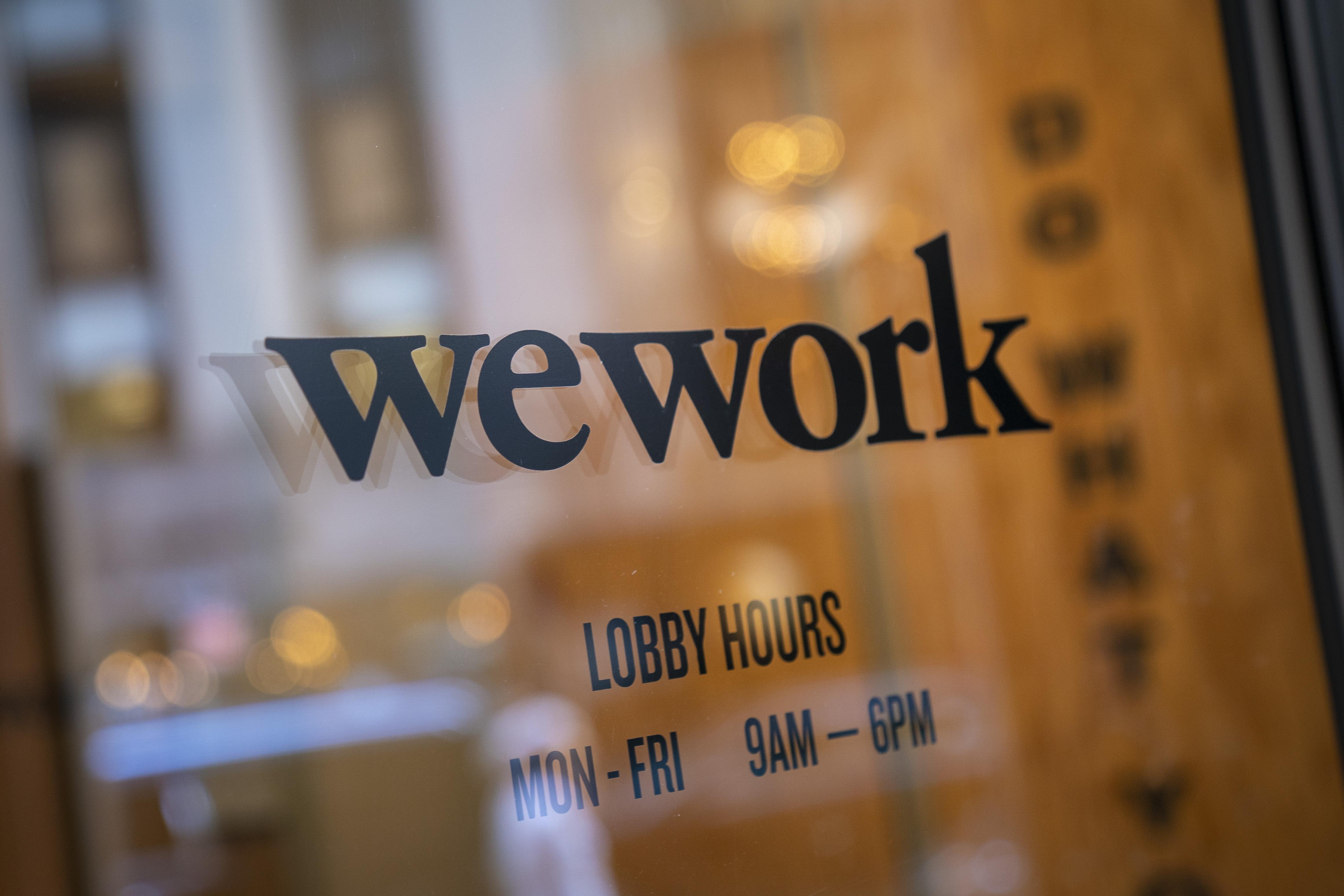 WeWork office sign in Manhattan in 2019.