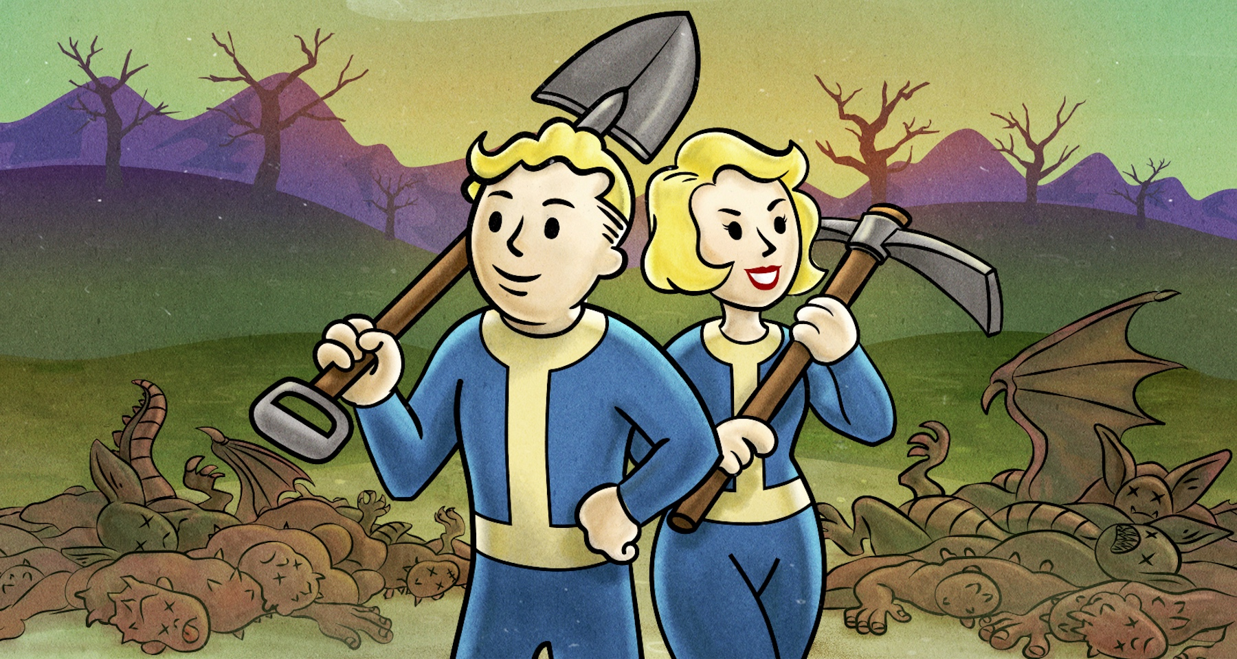 A Vault Boy and Vault Girl carrying a shovel and ax stand over corpses of monsters in an illustration from Fallout 76