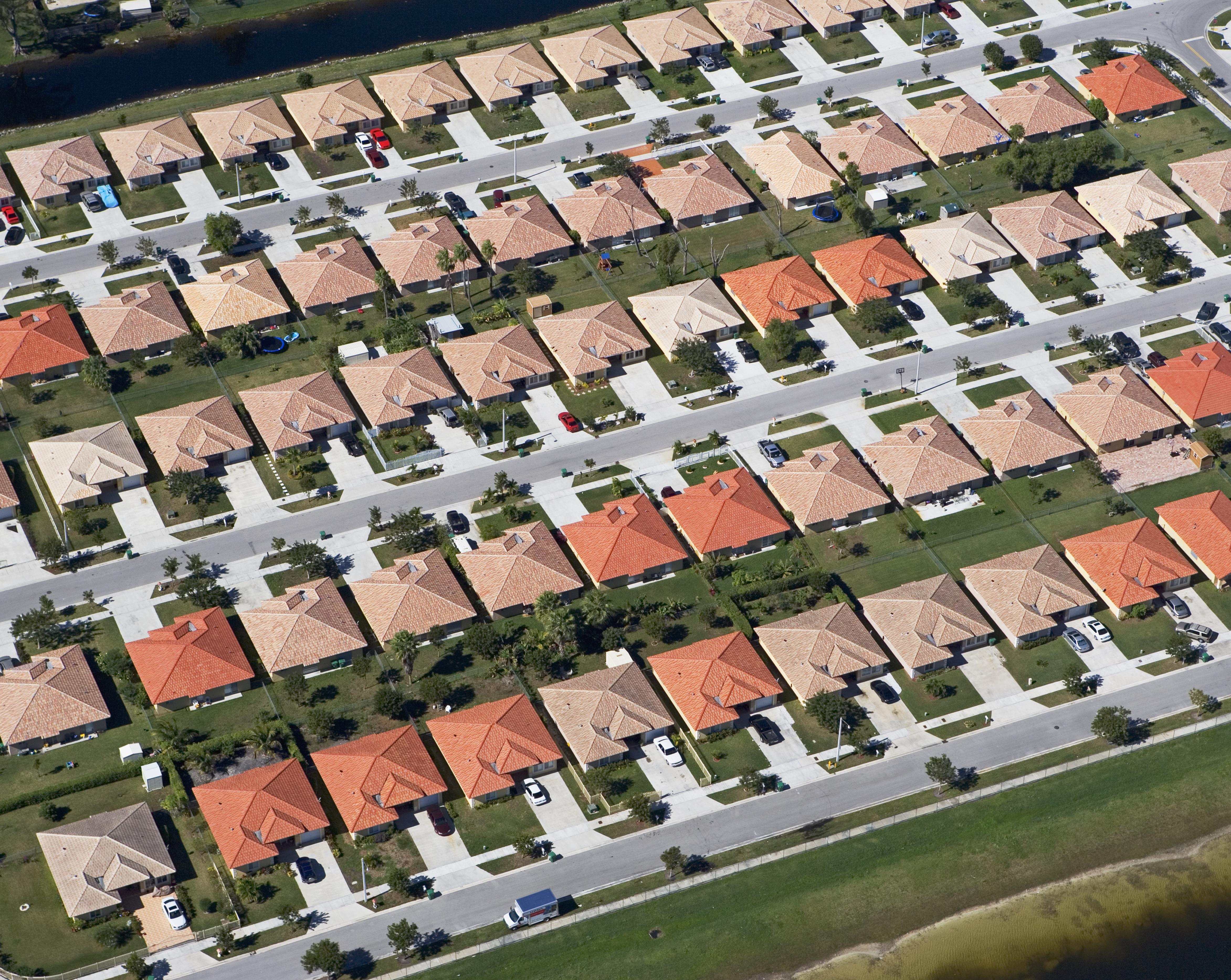 An aerial view of a suburban neighborhood.