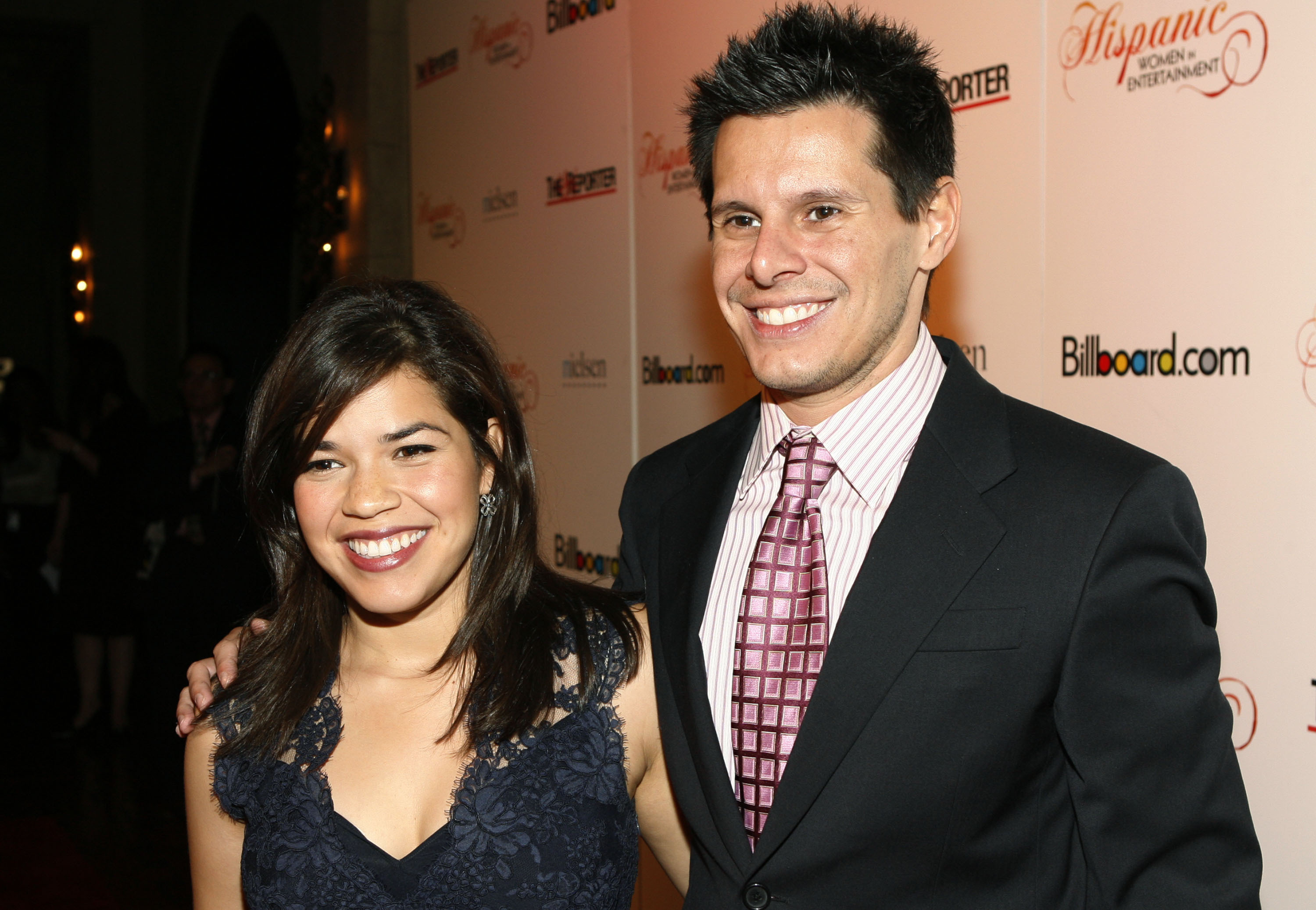"""This 2007 file photo shows """"Ugly Betty"""" actress America Ferrera and show creator Silvio Horta at the Billboard magazine Hispanic Women in Entertainment breakfast in Los Angeles."""