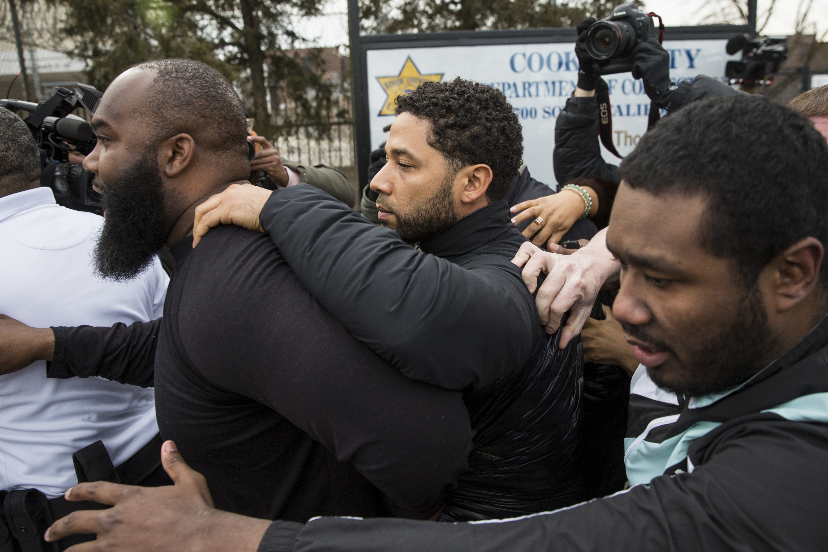"""Jussie Smollett leaves the Cook County jail after posting bail in February 2019. A special prosecutor investigation reviewing whether he staged a hate crime attack, and State's Attorney Kim Foxx's handling of the case, has keyed in on the """"Empire"""" actor's Google accounts, according to a search warrant filed last month."""