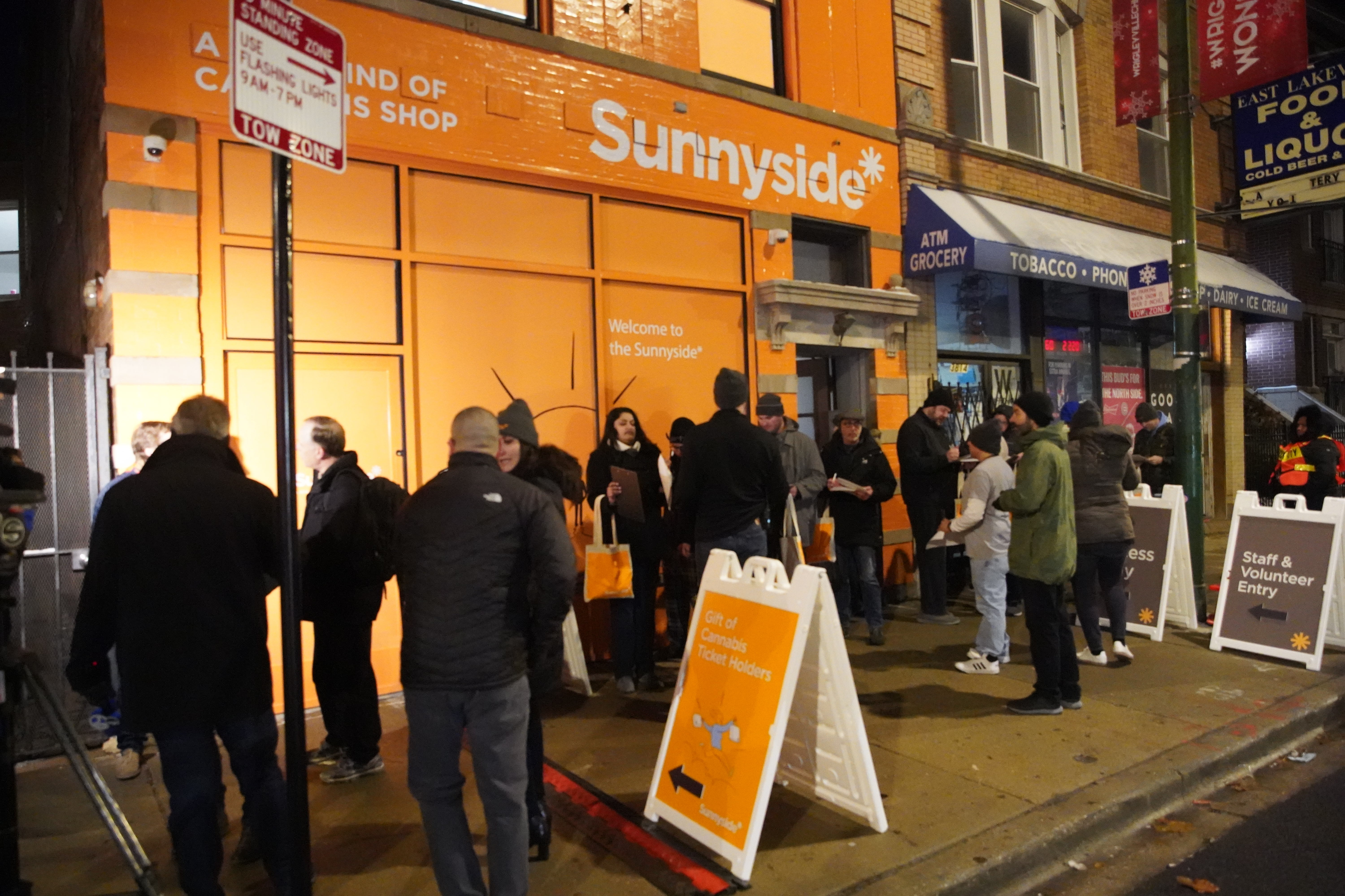 People lined up early Jan. 1 before Sunnyside opened for the first day of legal sales of recreational marijuana.