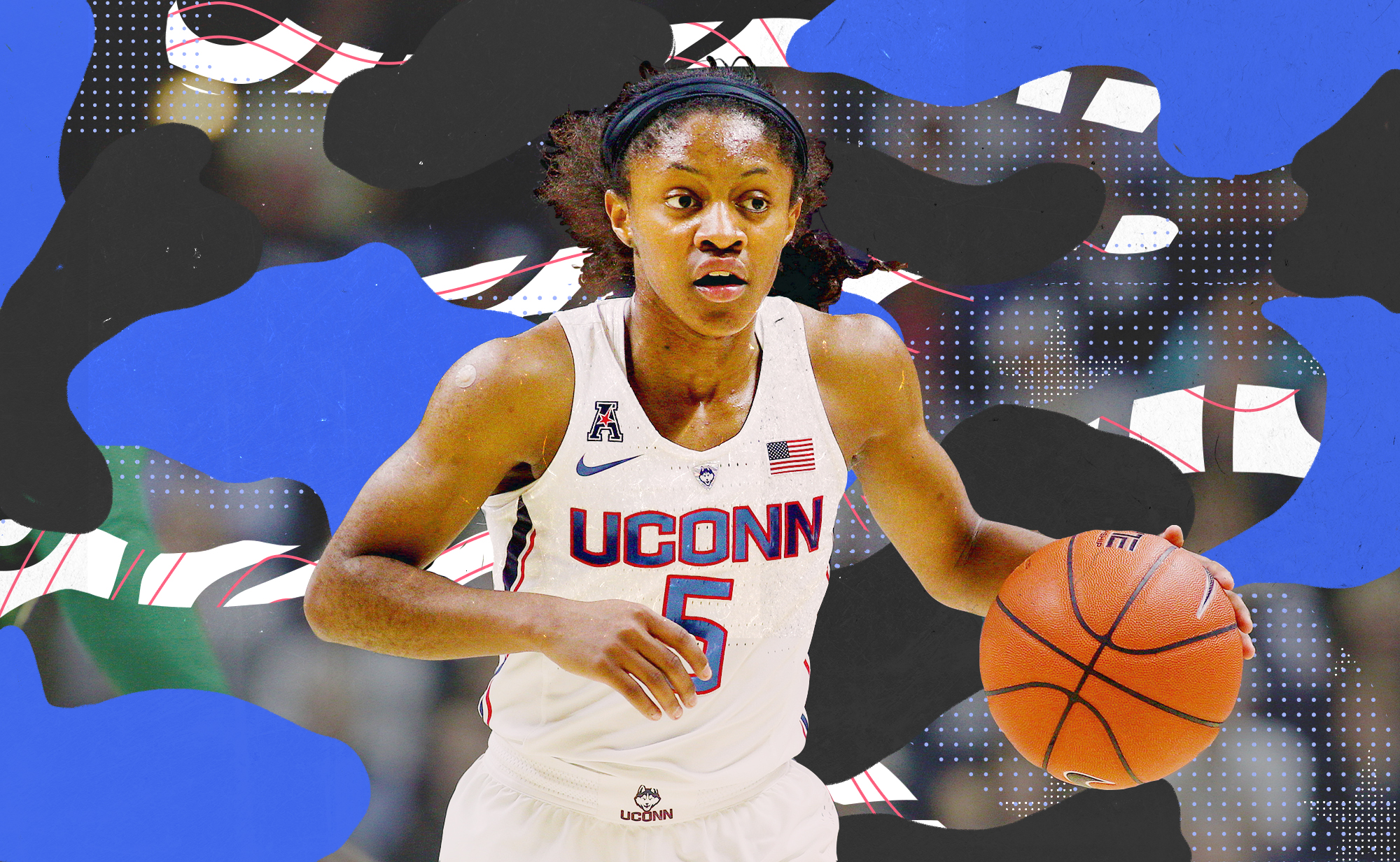UConn's Crystal Dangerfield in action on the court