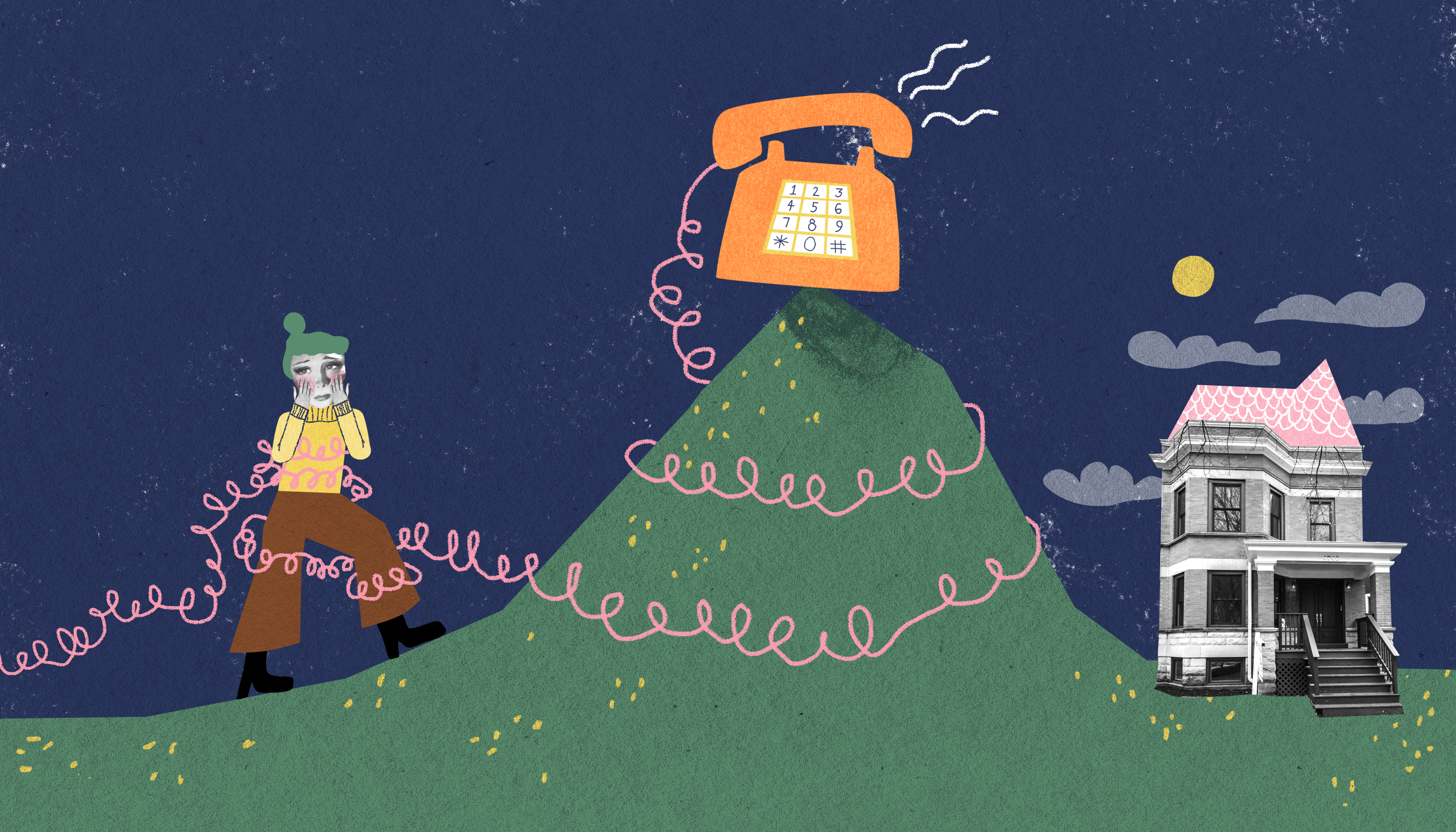 A woman tangled in a coiled telephone wire ascends a steep hill with a retro-looking phone at the top. On the other side of the hill is a beautiful rowhome. Illustration.