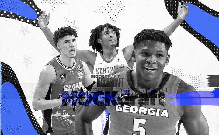 NBA Draft 2020 collage featuring LaMelo Ball, Tyrese Maxey, and Anthony Edwards.
