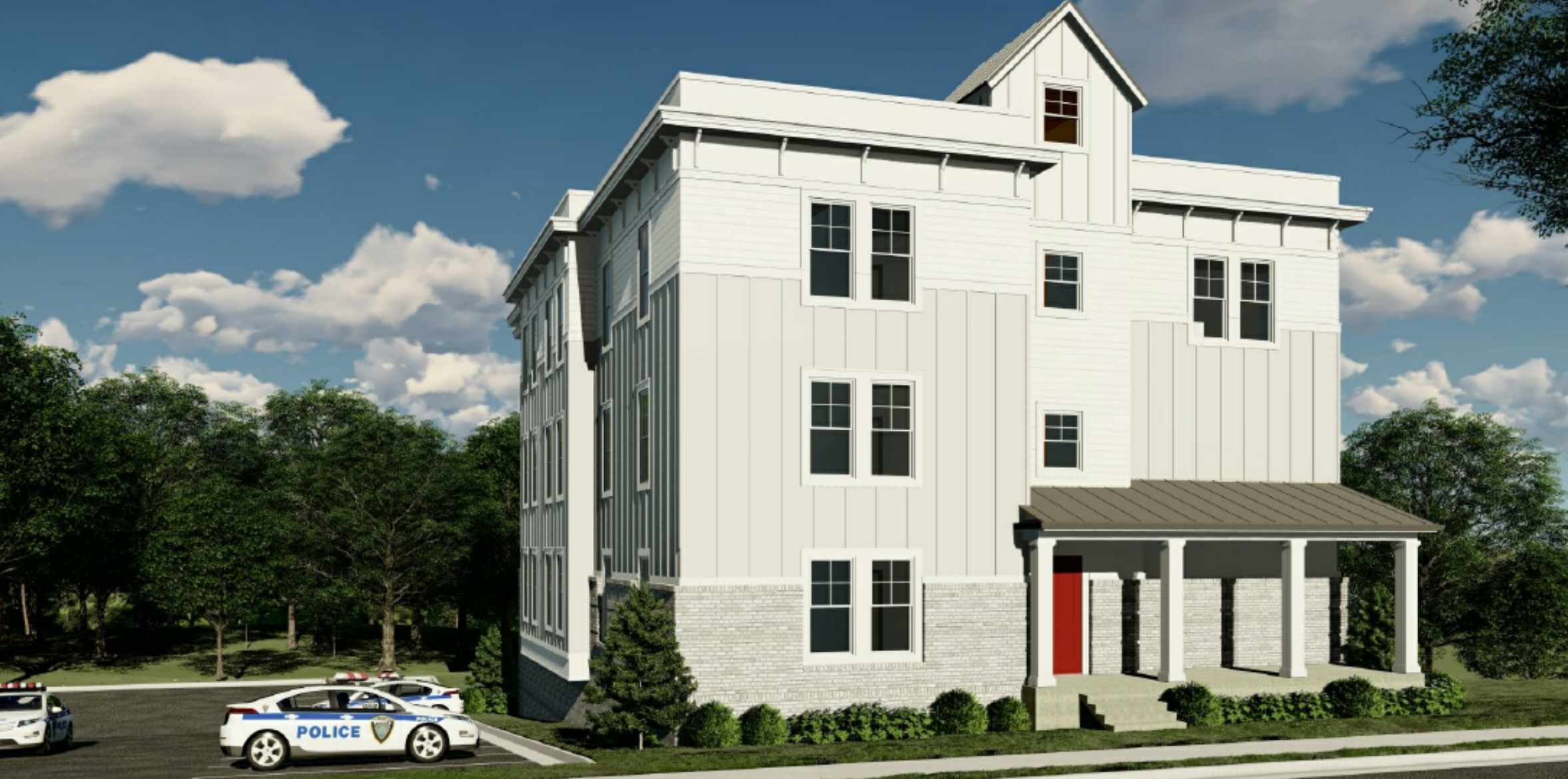 A rendering shows a plain, three story building with a red door.