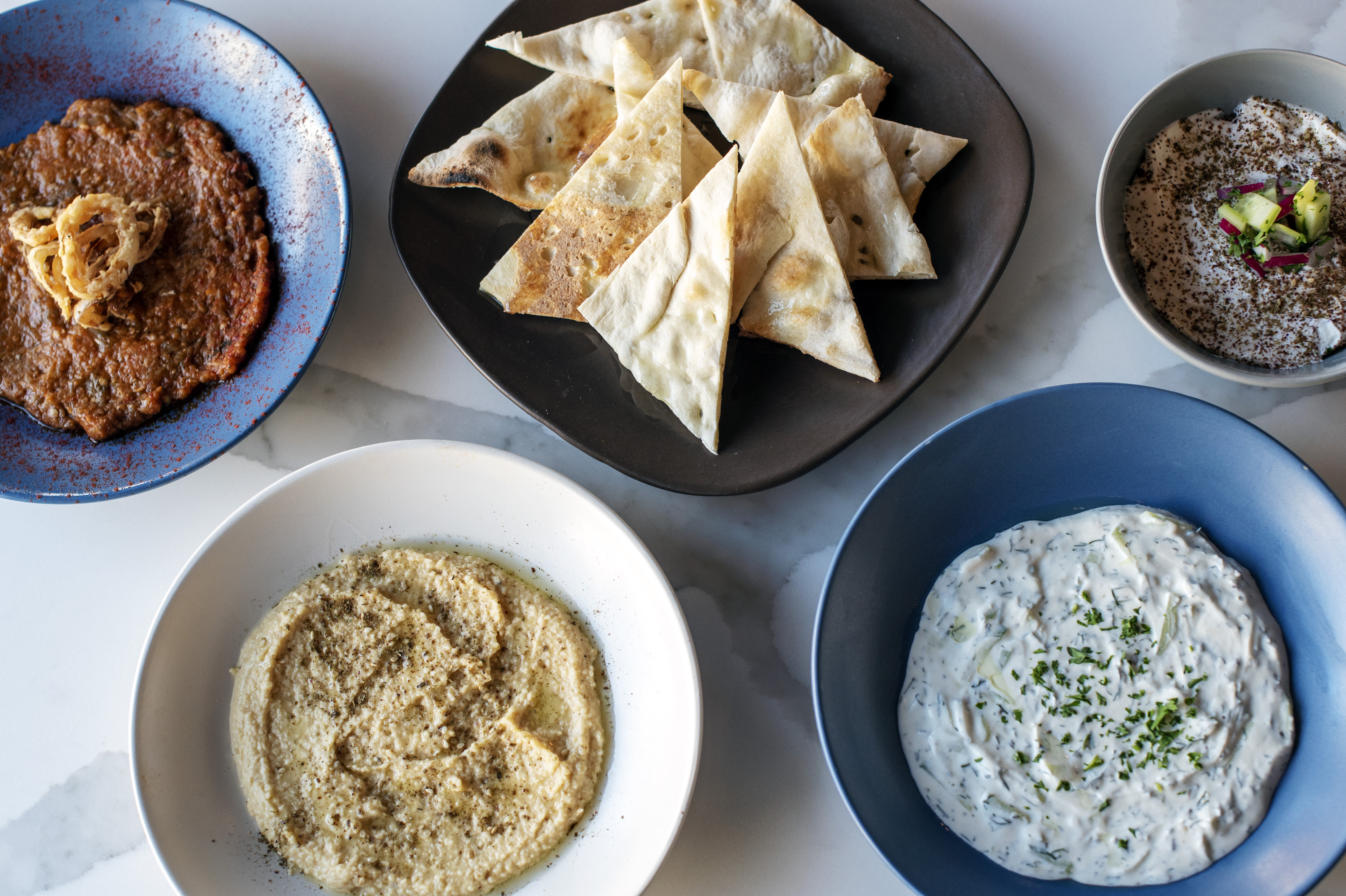 A selection of mezze dips at Lily White in Buckhead Atlanta