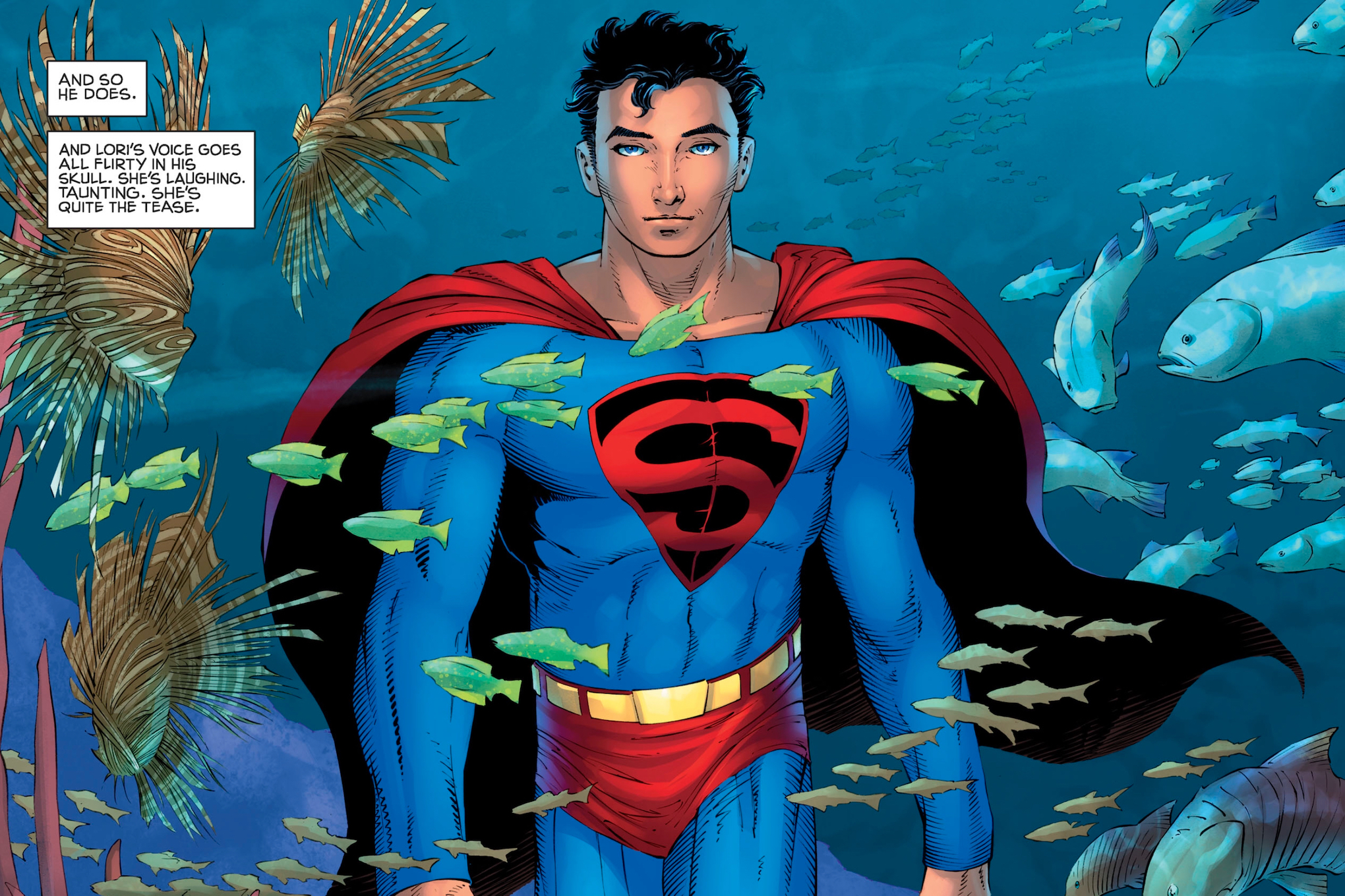 A young Superman strides the the ocean depths, surrounded by exotic fish, in Superman: Year One #2, DC Comics (2019).