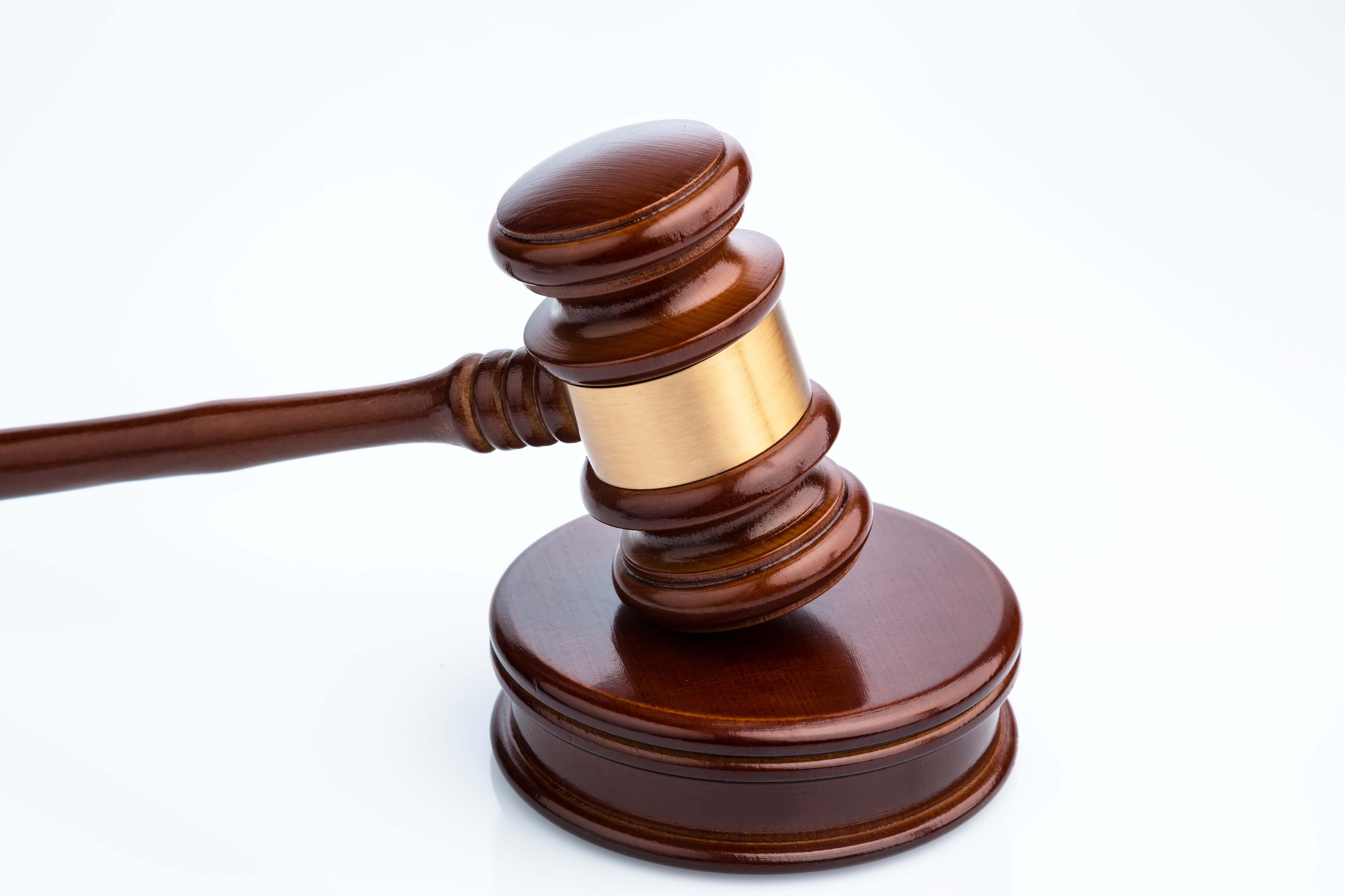 A court gavel on a table