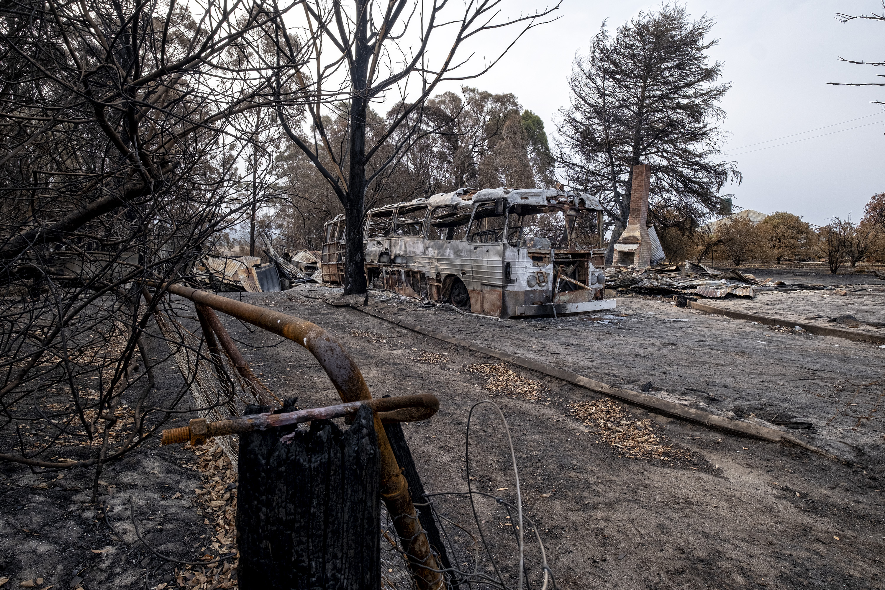Burnt property is seen in Clifton Creek on January 9, 2020, in Bairnsdale, Australia.