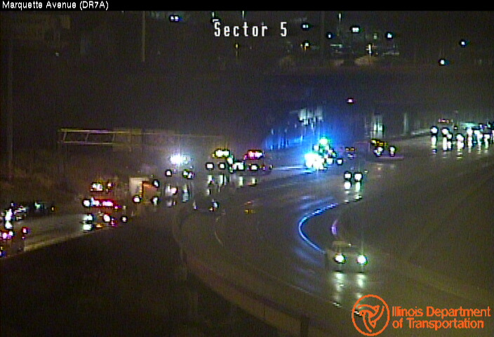 Local lanes were closed Jan. 10, 2020, after a semi crash, trash spill and fuel leak on the outbound Dan Ryan Expressway near the Chicago Skyway.