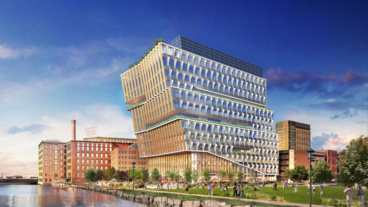 Rendering of a boxy, mid-size building that kind of tilts toward the waterfront in front of it.