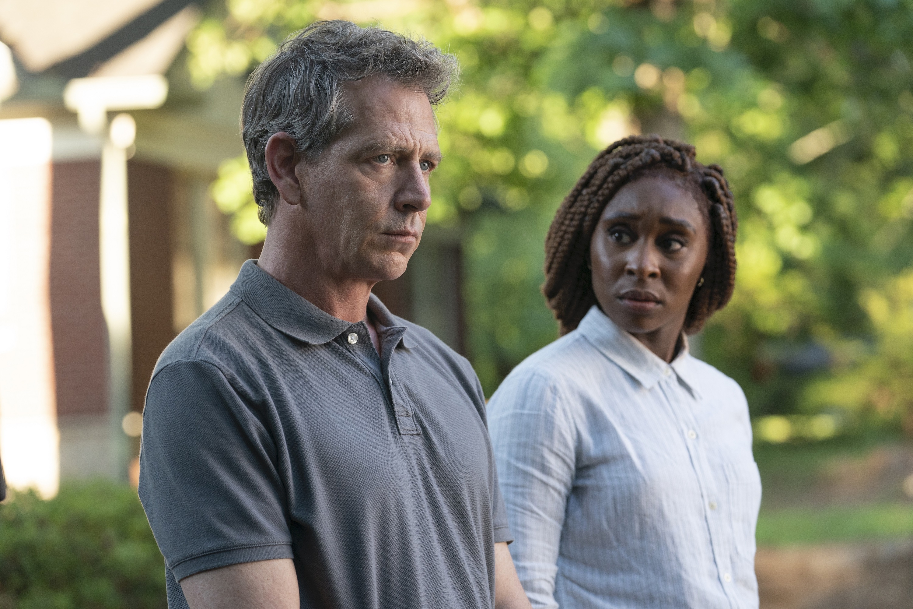 "While looking for a boy's killer, a detective (Ben Mendelsohn) brings in an unusual private investigator (Cynthia Erivo) in HBO's ""The Outsider."""