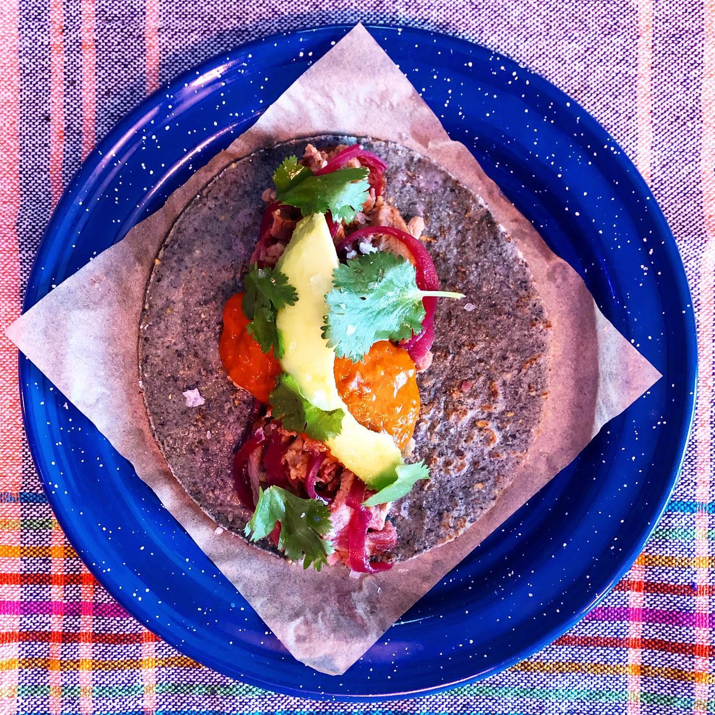 The smoked pork collar taco at Nixta Taqueria