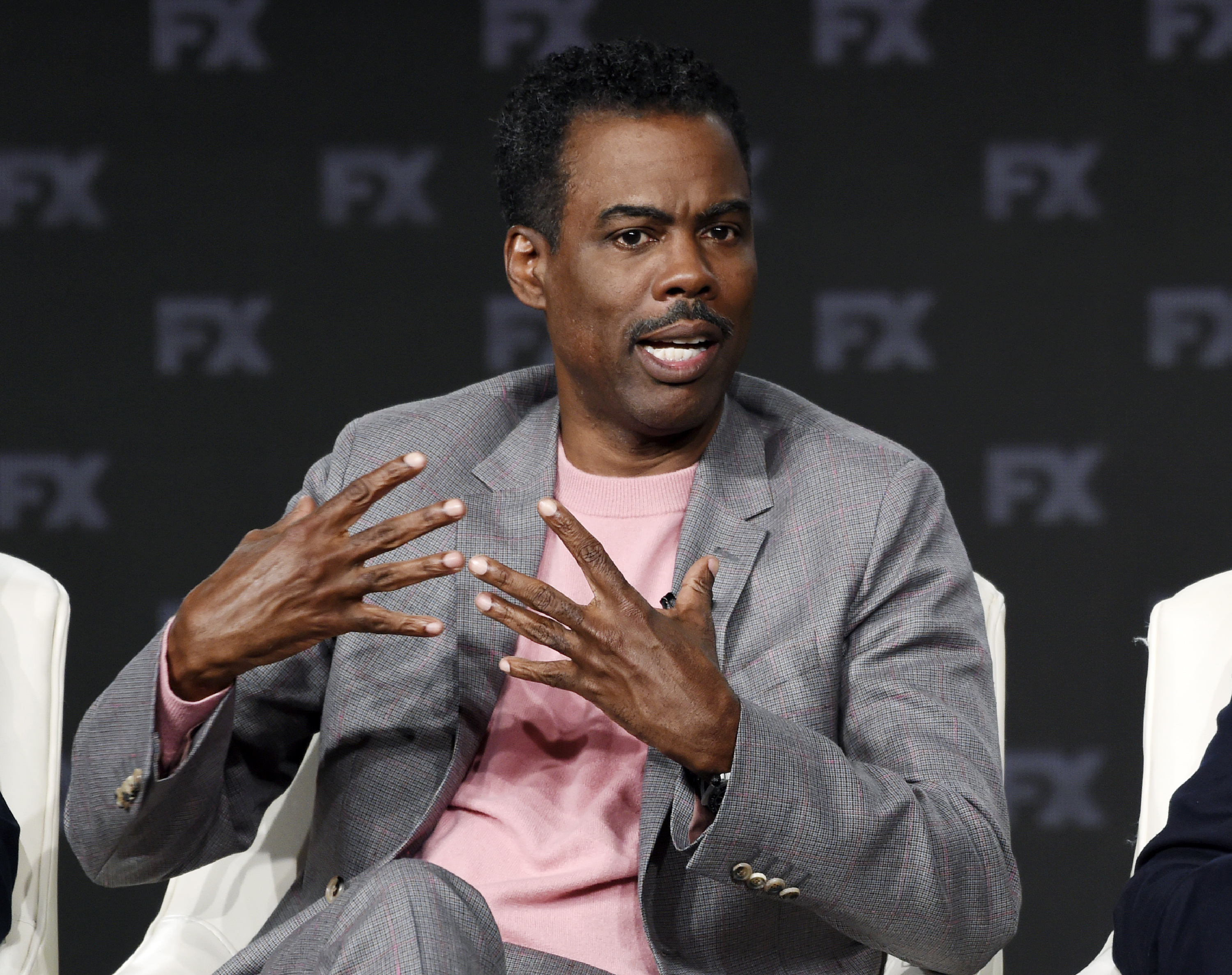 "Chris Rock discusses the FX series ""Fargo"" at the 2020 FX Networks Television Critics Association Winter Press Tour in Pasadena, California."