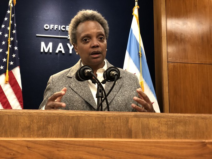 Mayor Lori Lightfoot meets with reporters on Friday for the first time in 2020.
