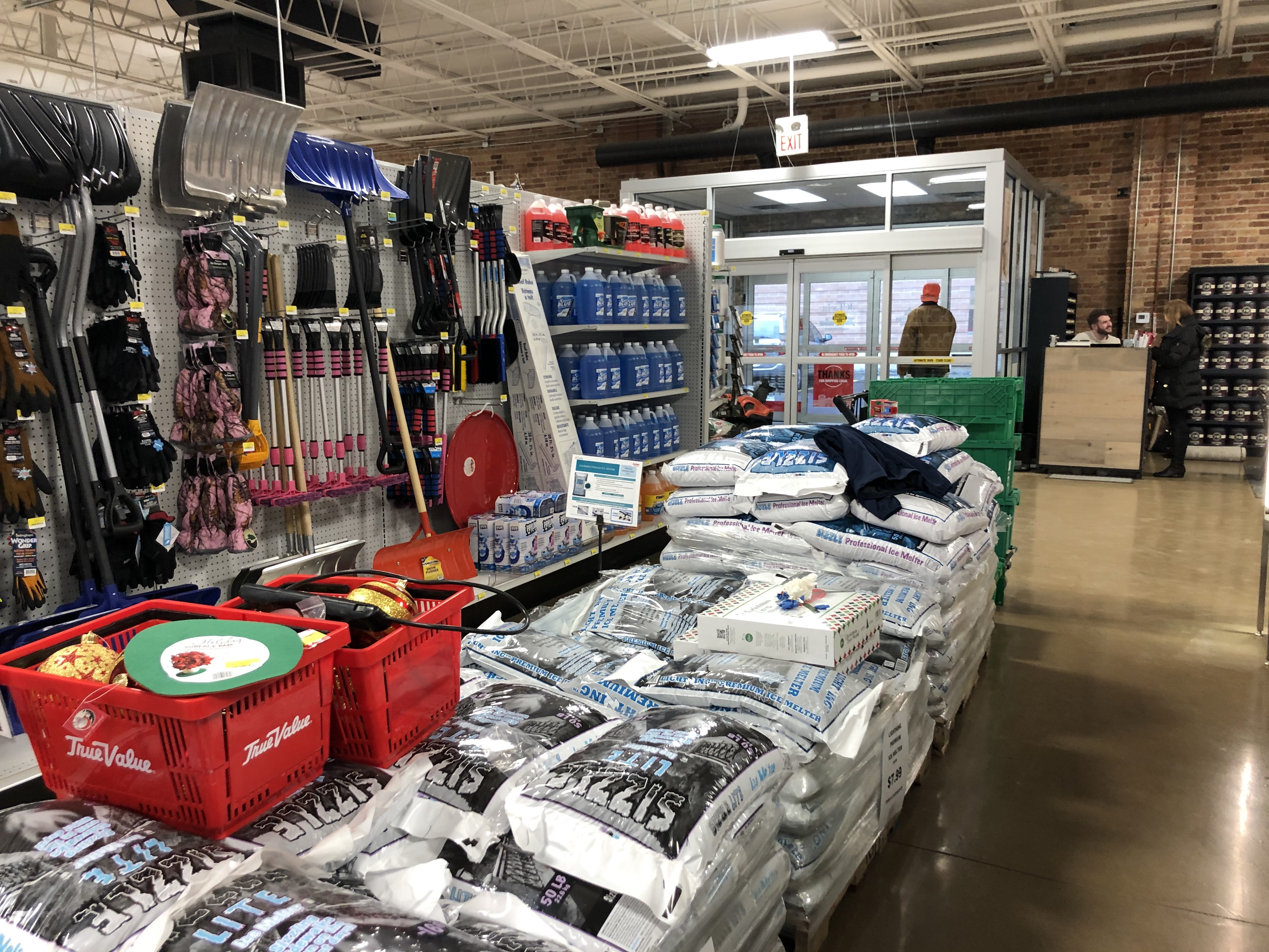 Supplies to deal with the impending ice and snow in the forecast are stacked up on Friday at J.C. Licht True Value, 18 S. Sangamon St.