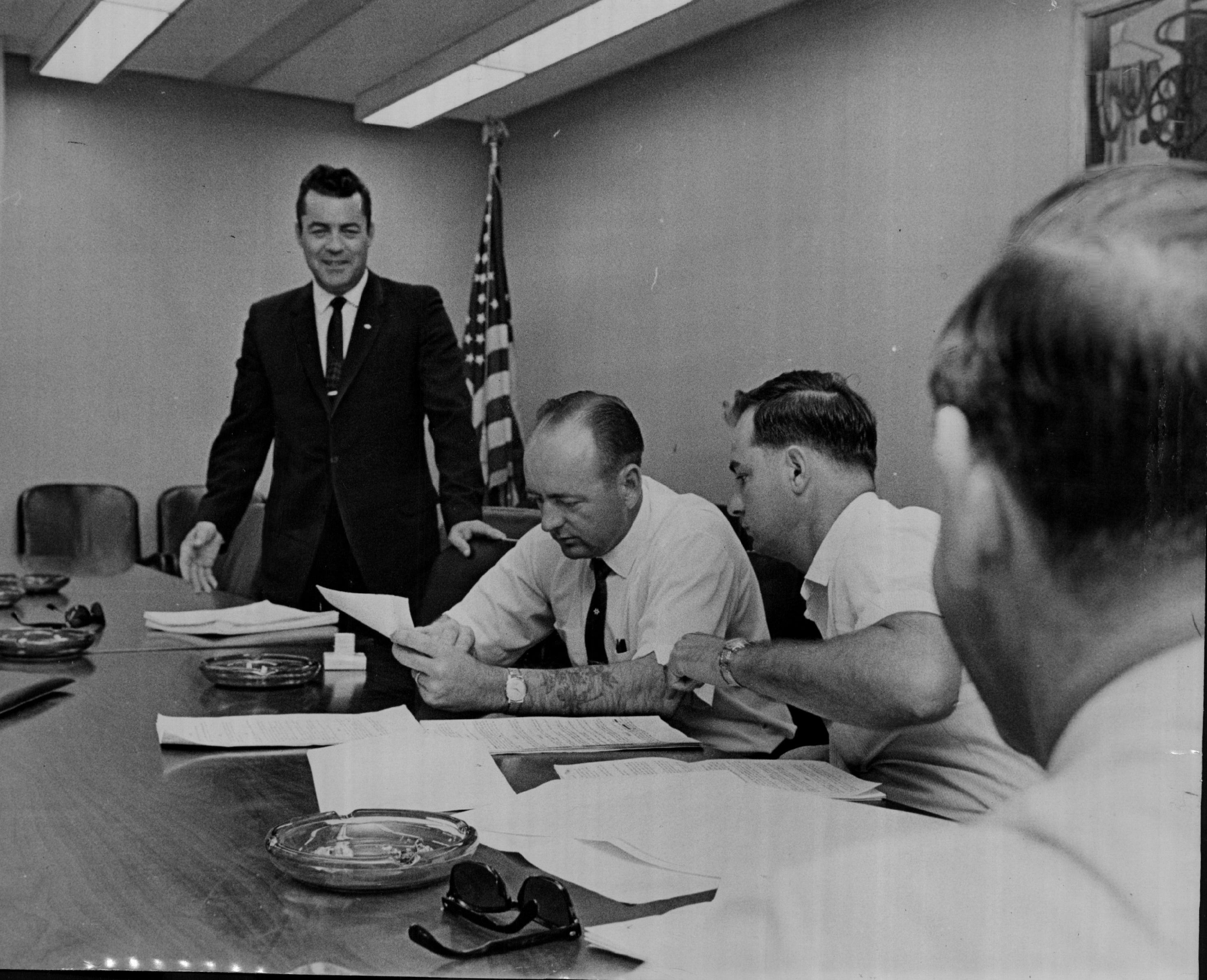 Then-Local 150 business representative Bill Dugan (third from left) is pictured with union leaders in 1966.