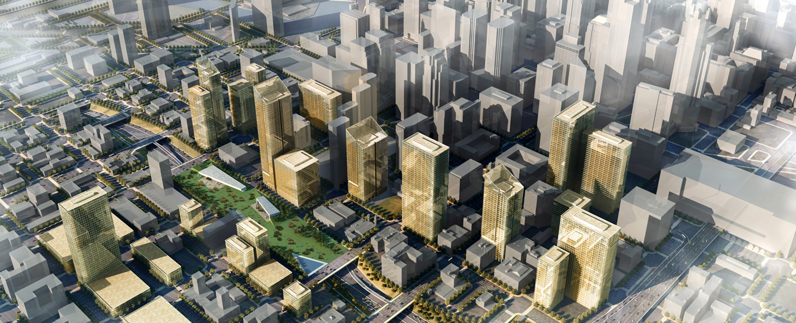 A rendering of a potential landscaped cap over the Kennedy Expressway.