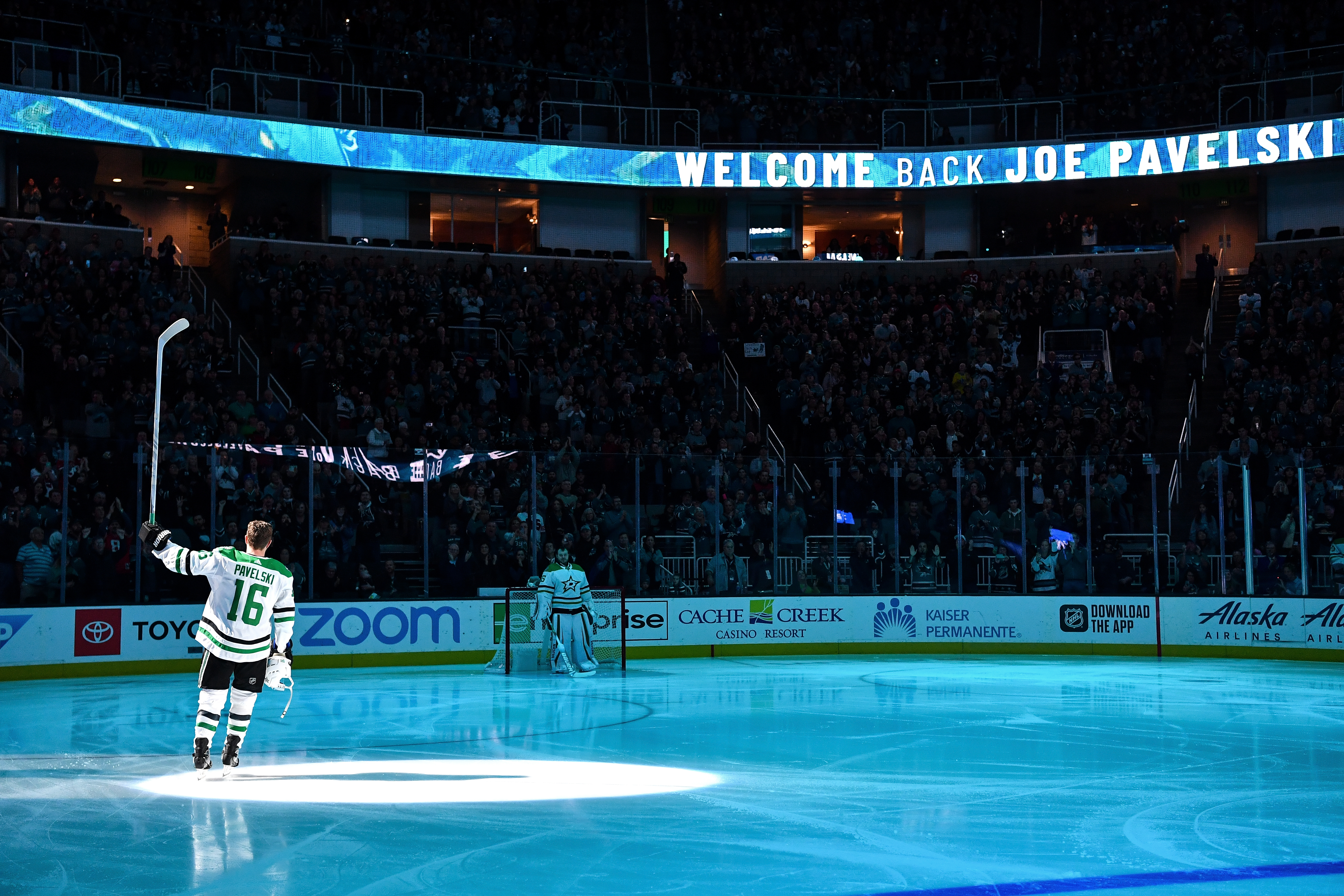 SAN JOSE, CA - JANUARY 11: Joe Pavelski #16 of the Dallas Stars is honored before his first game as a visitor against the San Jose Sharks at SAP Center on January 11, 2020 in San Jose, California.