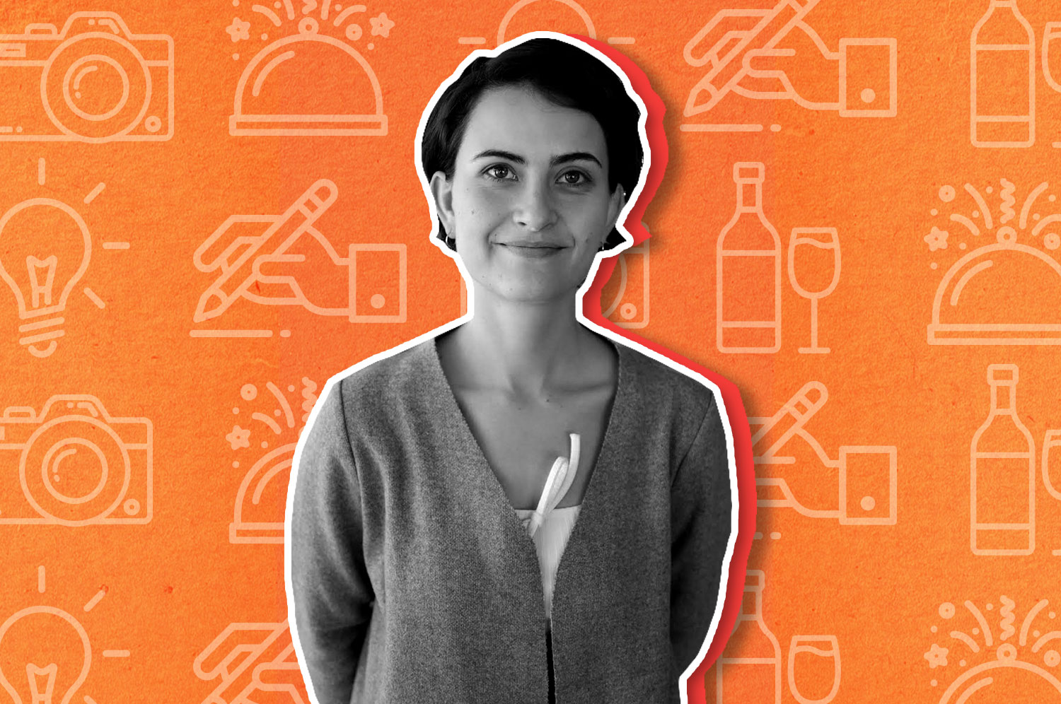 A black and white cutout photo of a woman in a button up sweater with cropped brown hair smiling at the camera on an orange illustrated background.