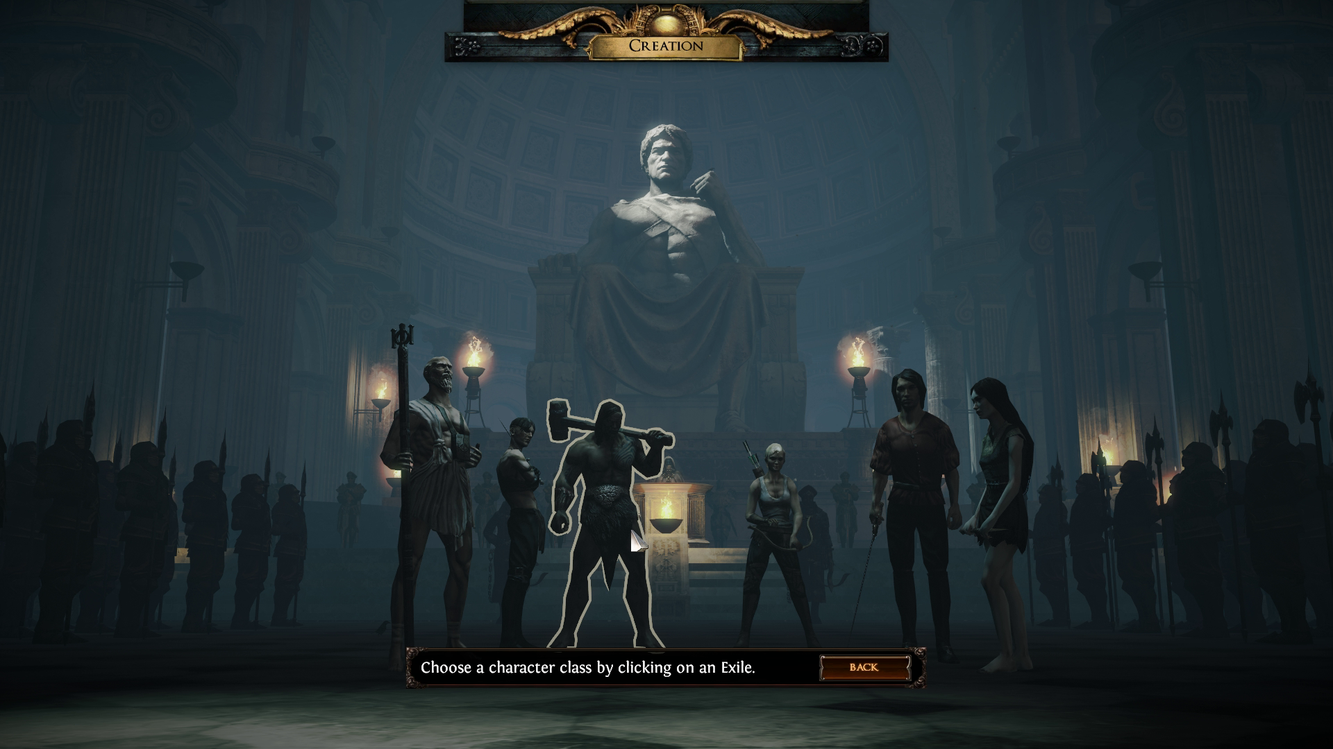 Class select screen Path of Exile