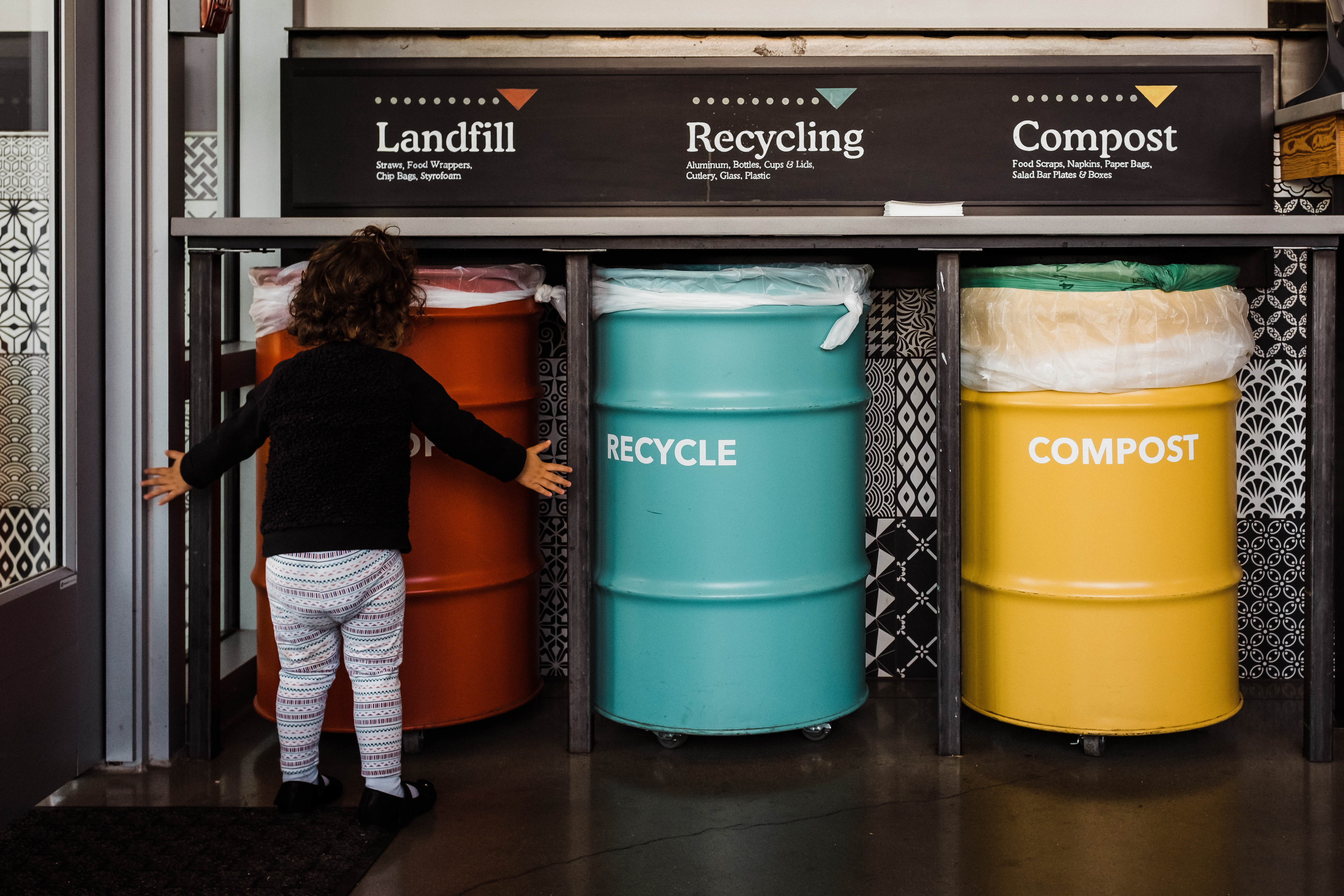 An image of three bins marked with: Landfill, Recycle, and Compost.