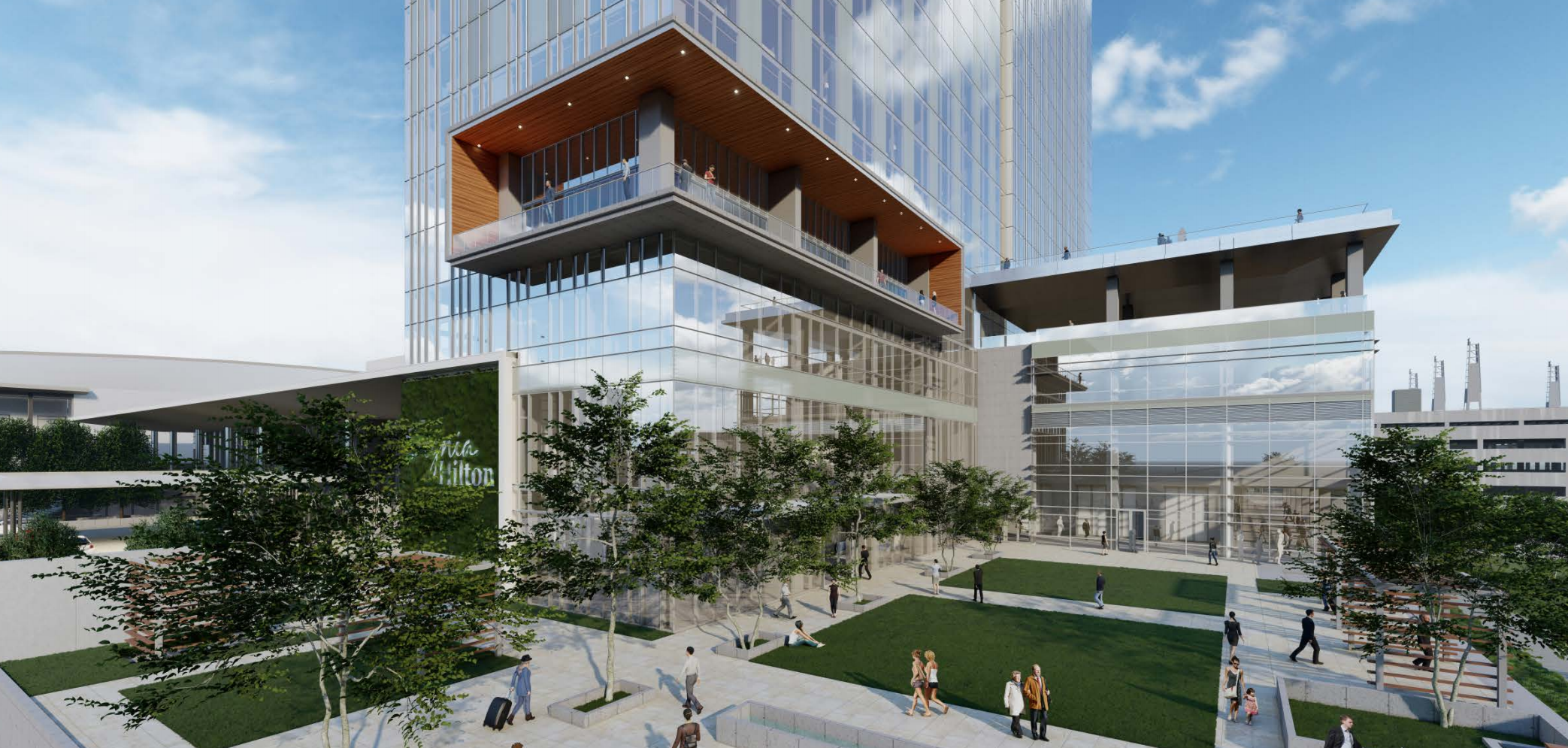 A rendering of the ground floor of the proposed glassy hotel.