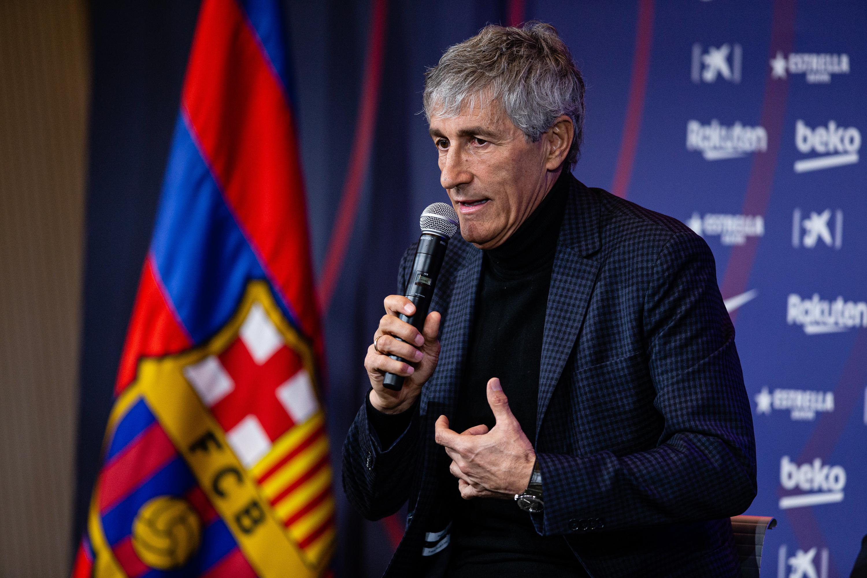 Quique Setien Presentation In FC Barcelona