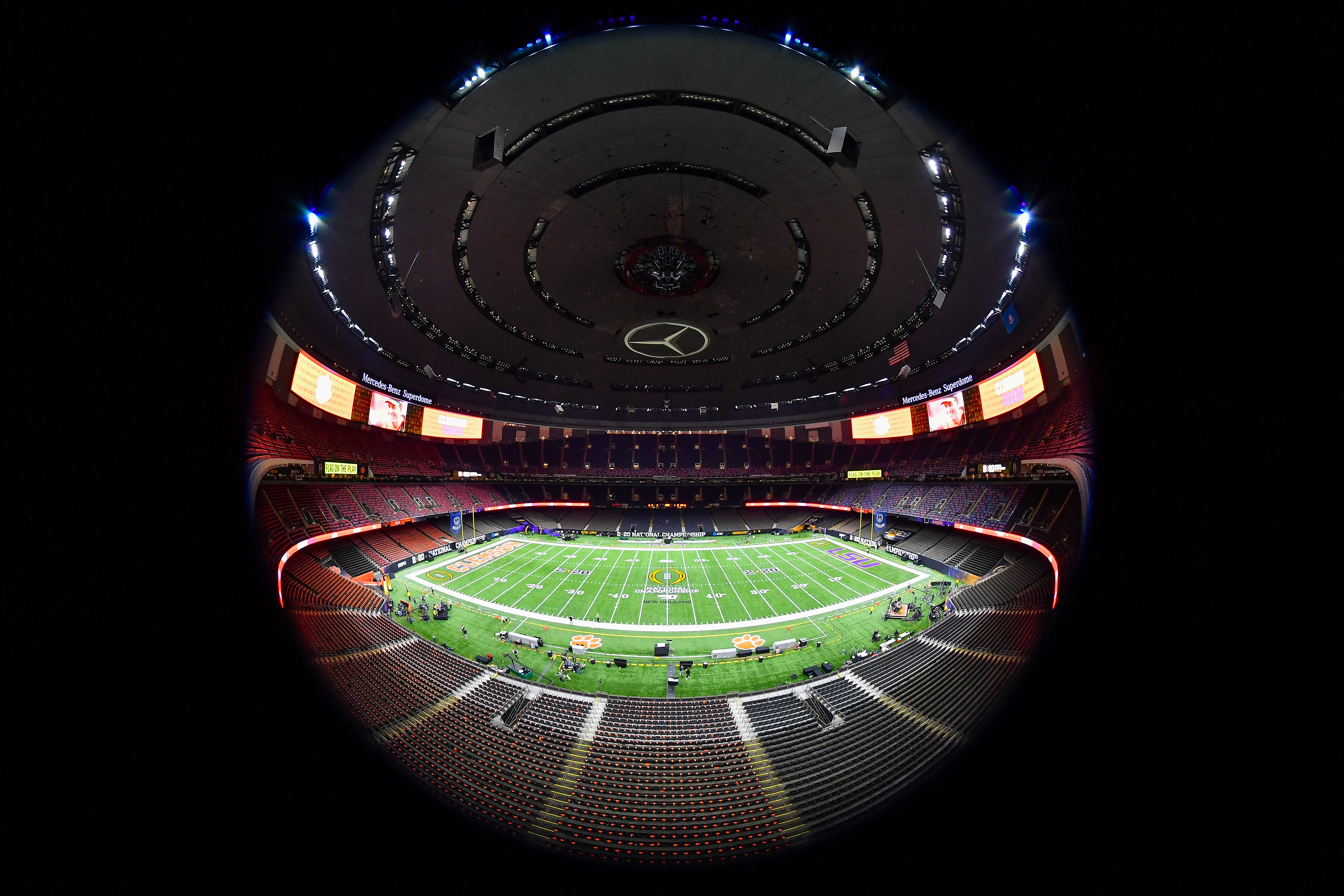 This is a general view of the Superdome where the college football national title game was played after all of our bedtimes.