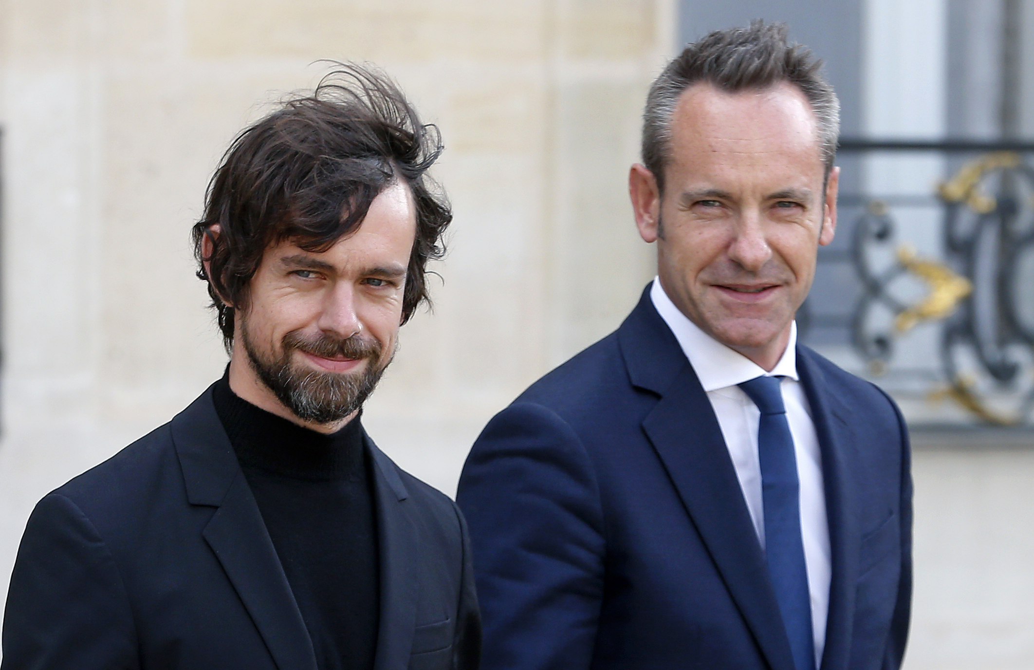 Twitter CEO Jack Dorsey and Twitter France GM Damien Viel.