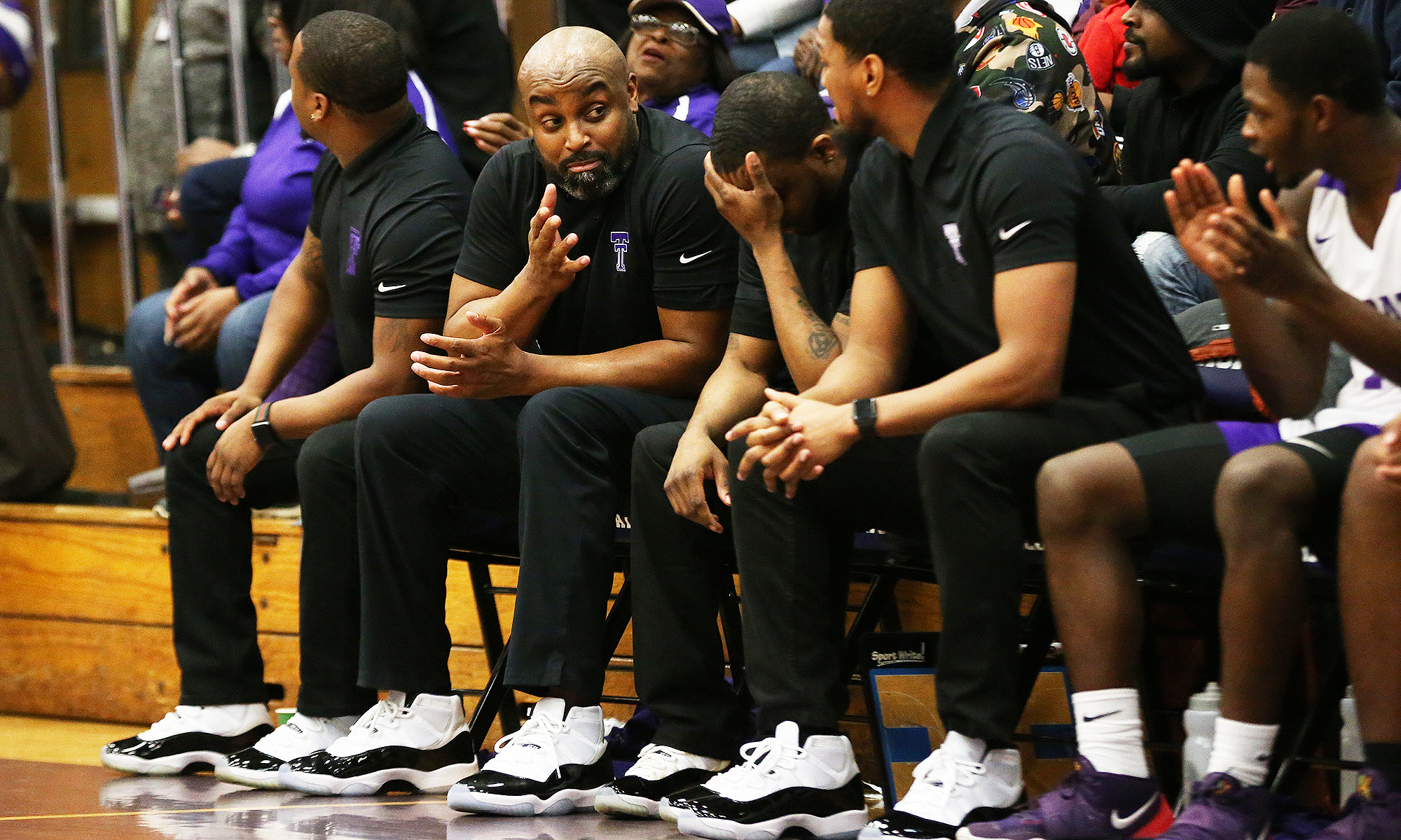 Thornton coach Tai Streets as the clock winds down on the Wildcats' victory over Homewood-Flossmoor.