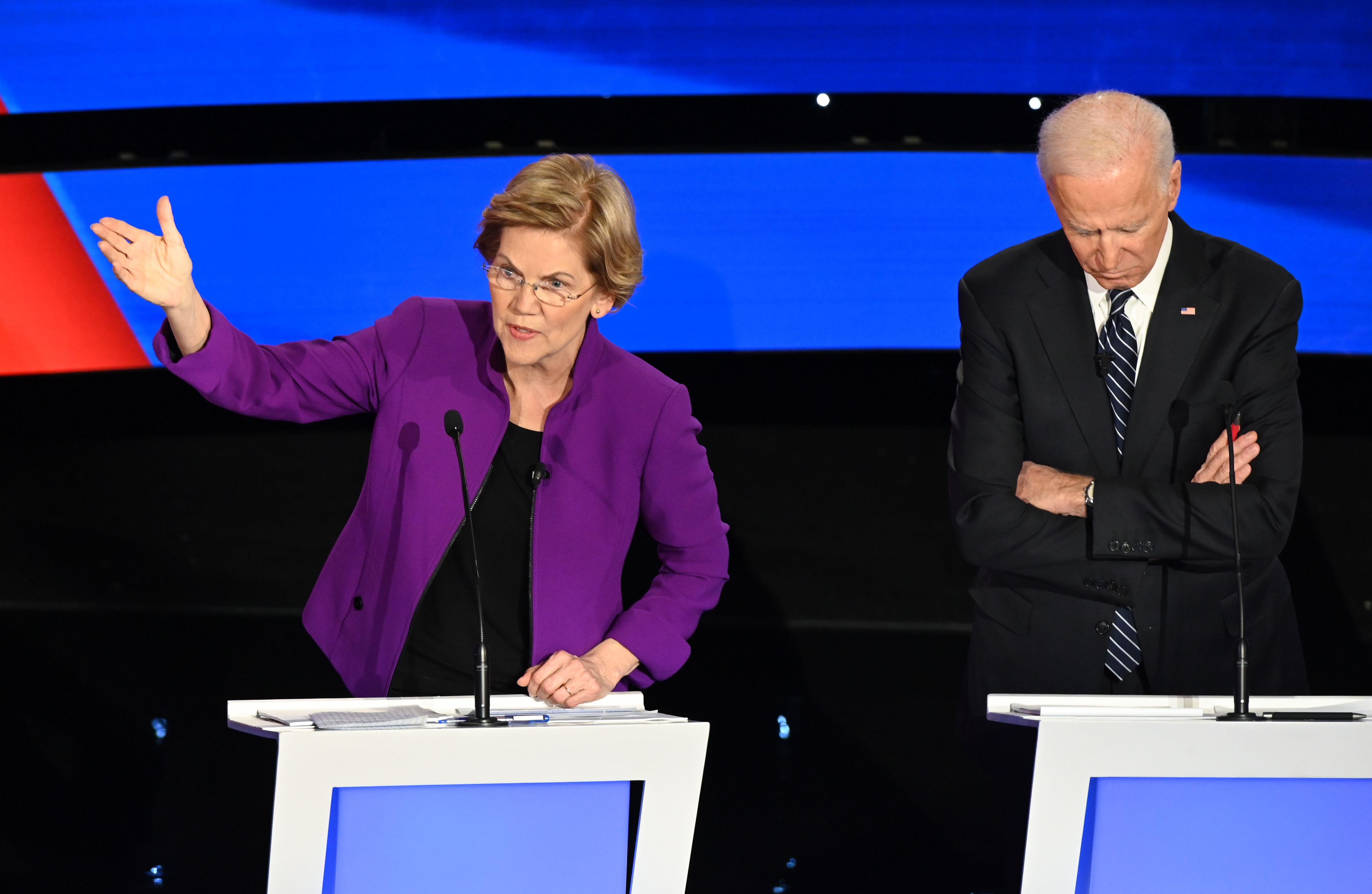 Warren at the seventh Democratic debate.