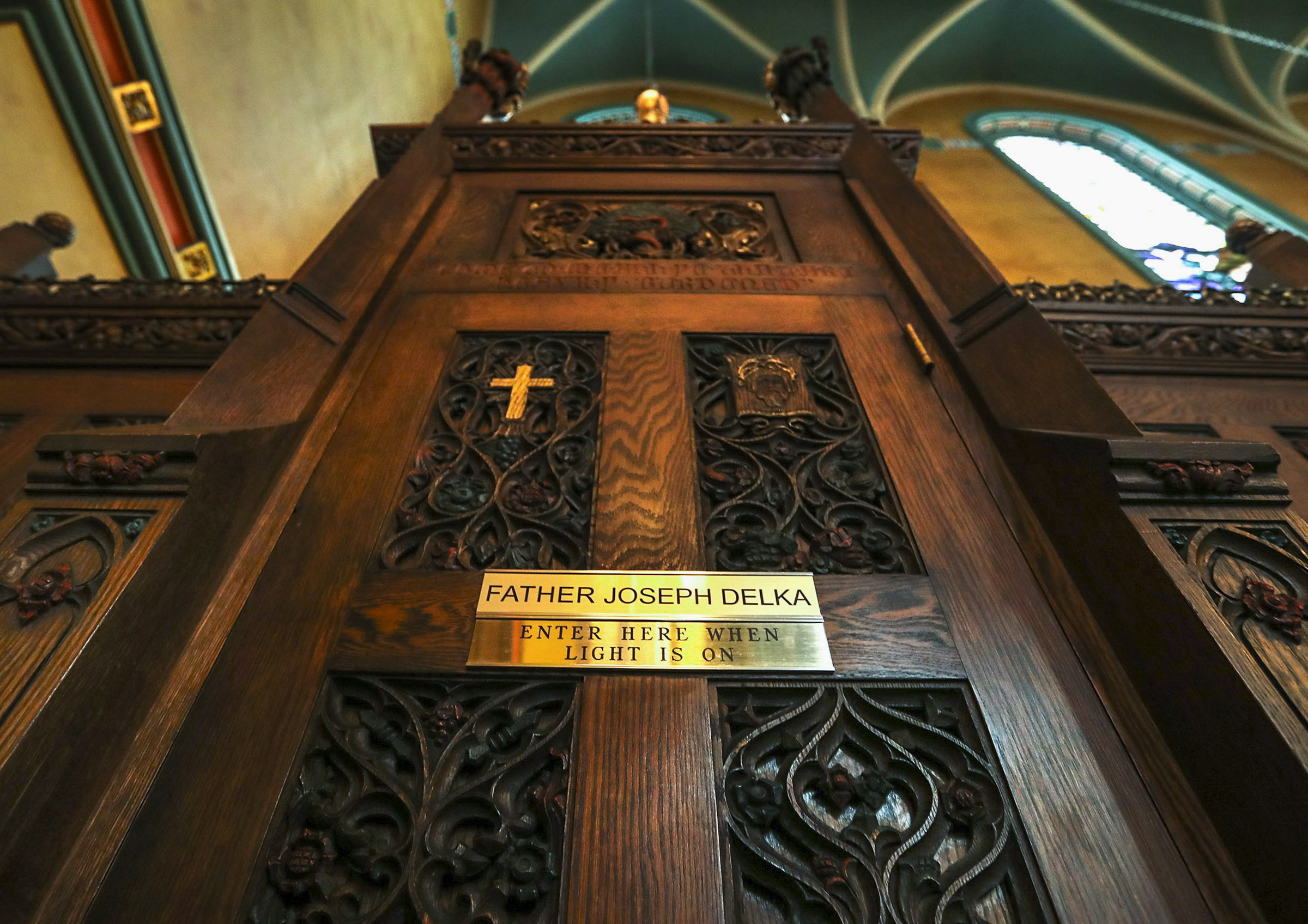 One of the two confessionals in the Cathedral of the Madeleine in Salt Lake City is pictured on Tuesday, Jan. 14, 2020.