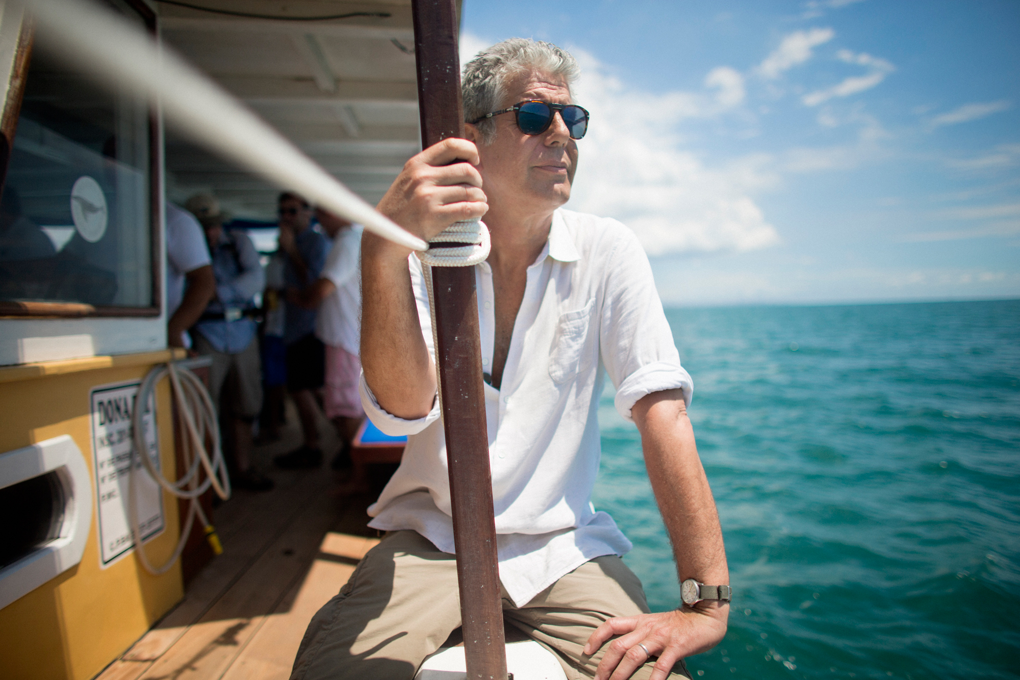 Anthony Bourdain on a boat in an episode of parts unknown