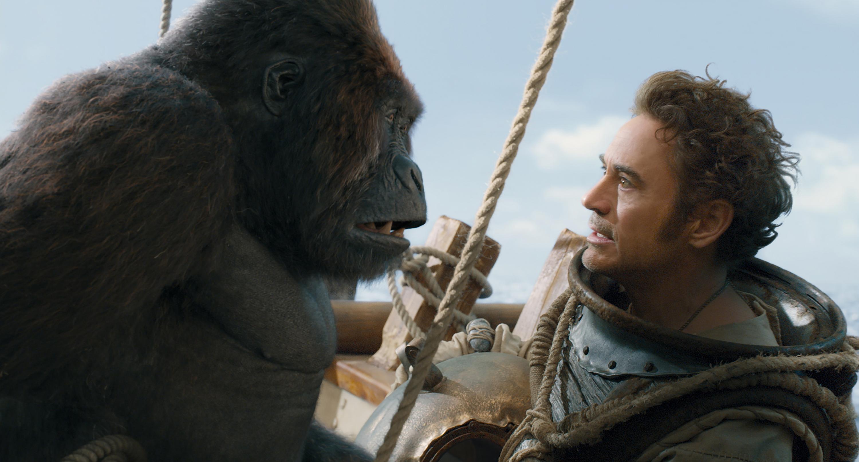 A CGI gorilla and Robert Downey Jr.