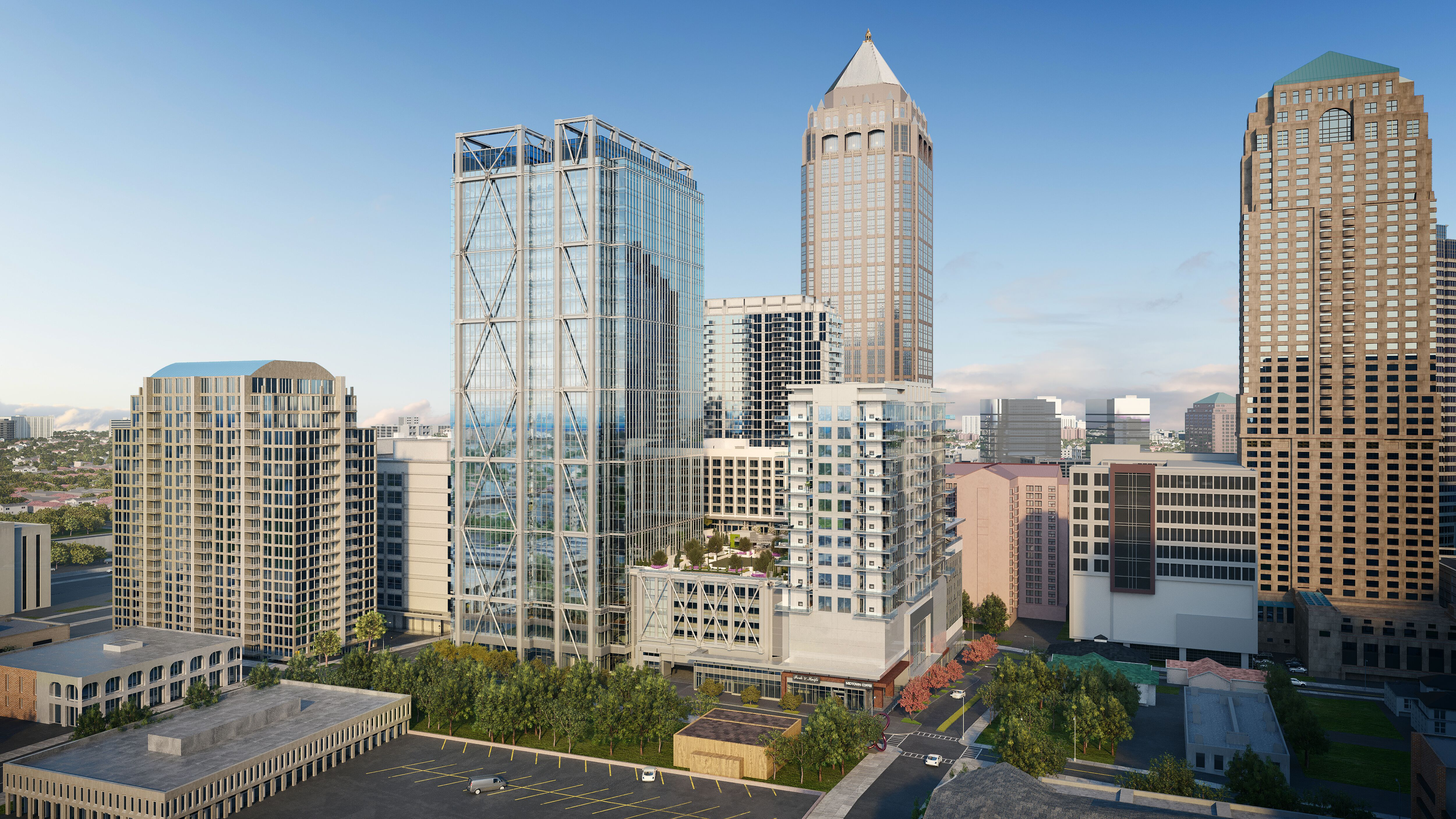 A rendering shows new towers jutting up in front of the Midtown skyline.
