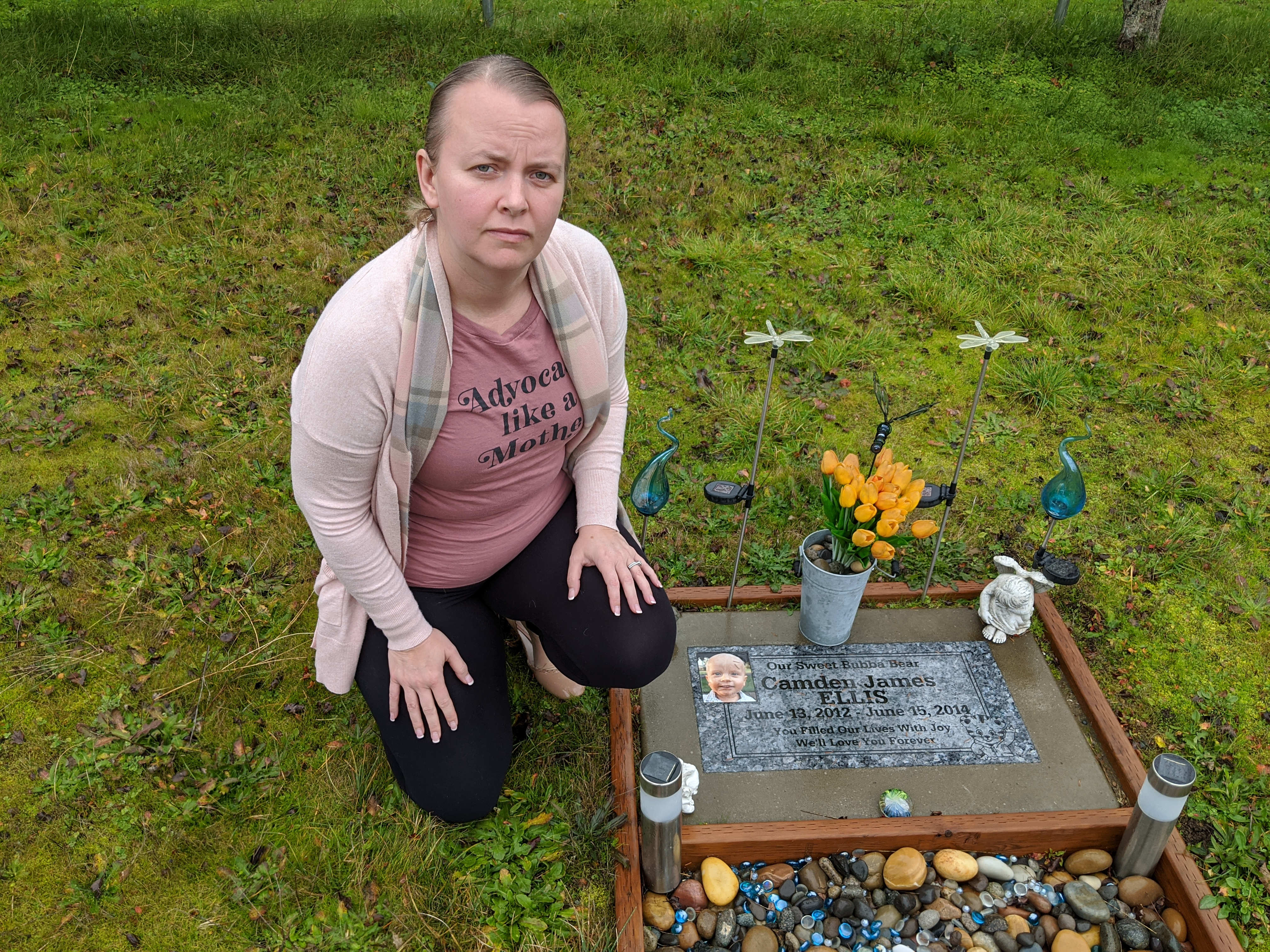 Crystal Ellis at the grave of her son Camden.