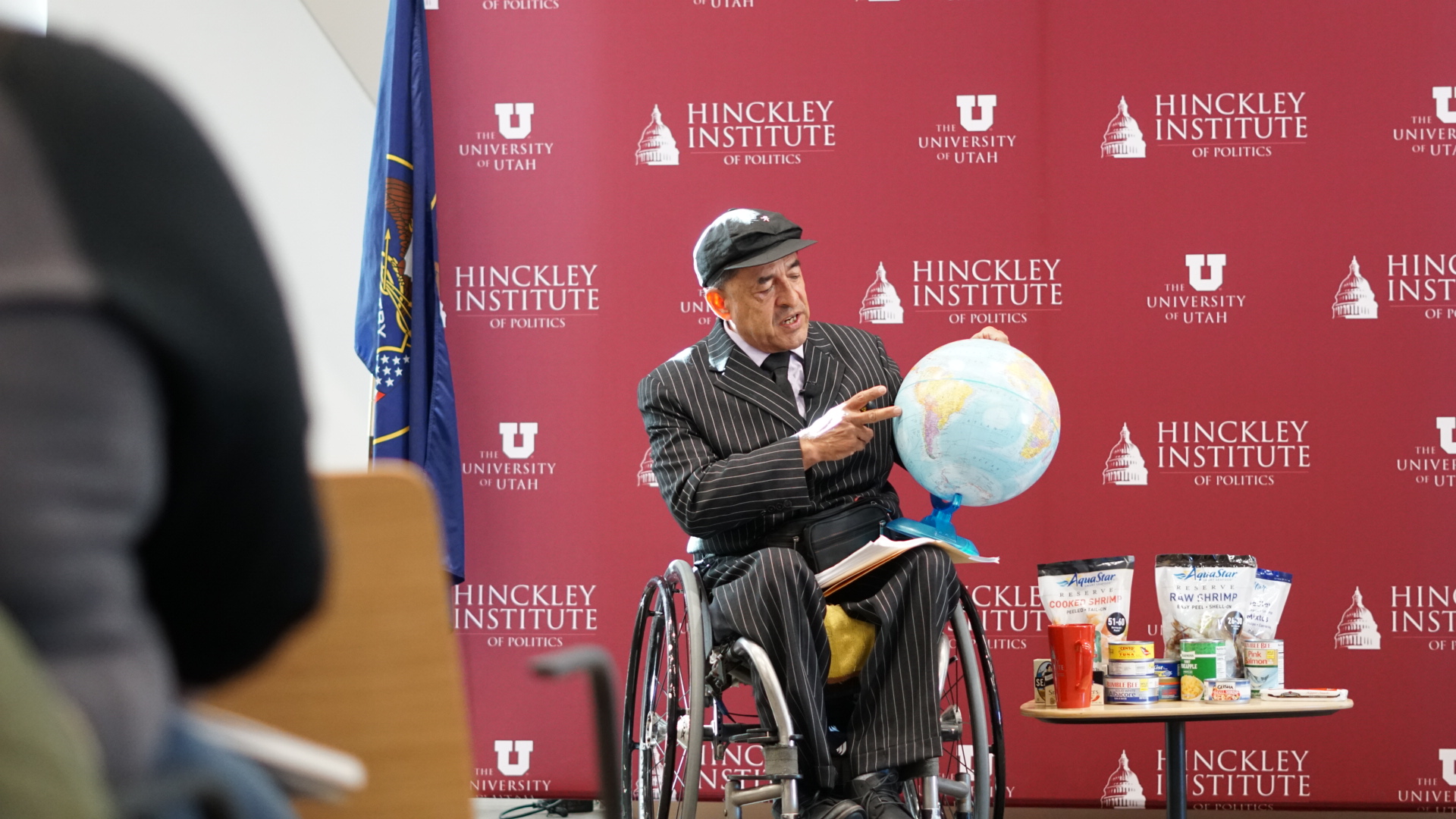 Danny Quintana speaks at the University of Utah's Hinckley Institute of Politics in Salt Lake City on Wednesday, Jan. 15, 2020, about his new global education campaign and the dangers of overfishing.