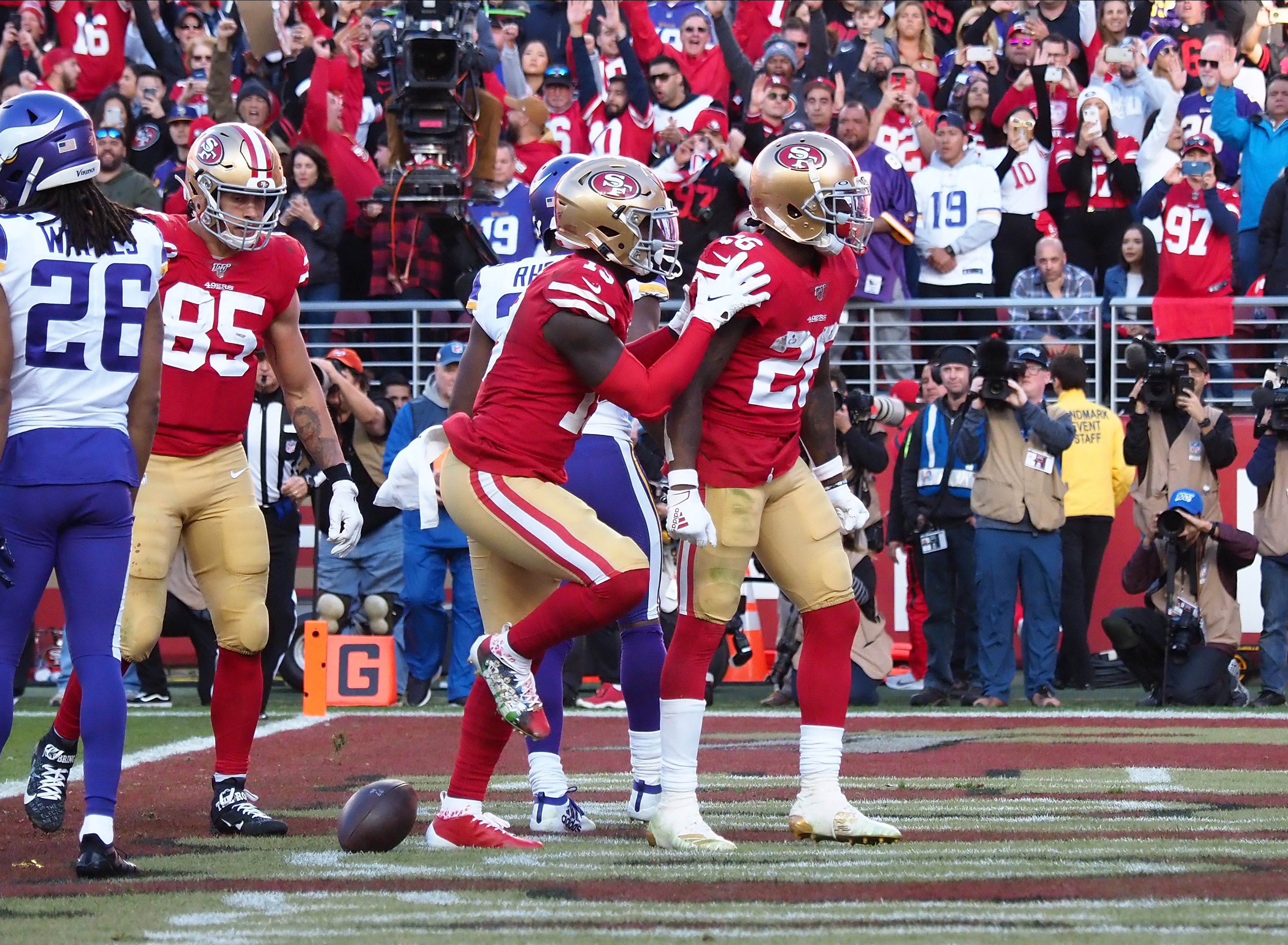 San Francisco 49ers running back Tevin Coleman celebrates after a touchdown against the Minnesota Vikings during the third quarter in a NFC Divisional Round playoff football game at Levi's Stadium.