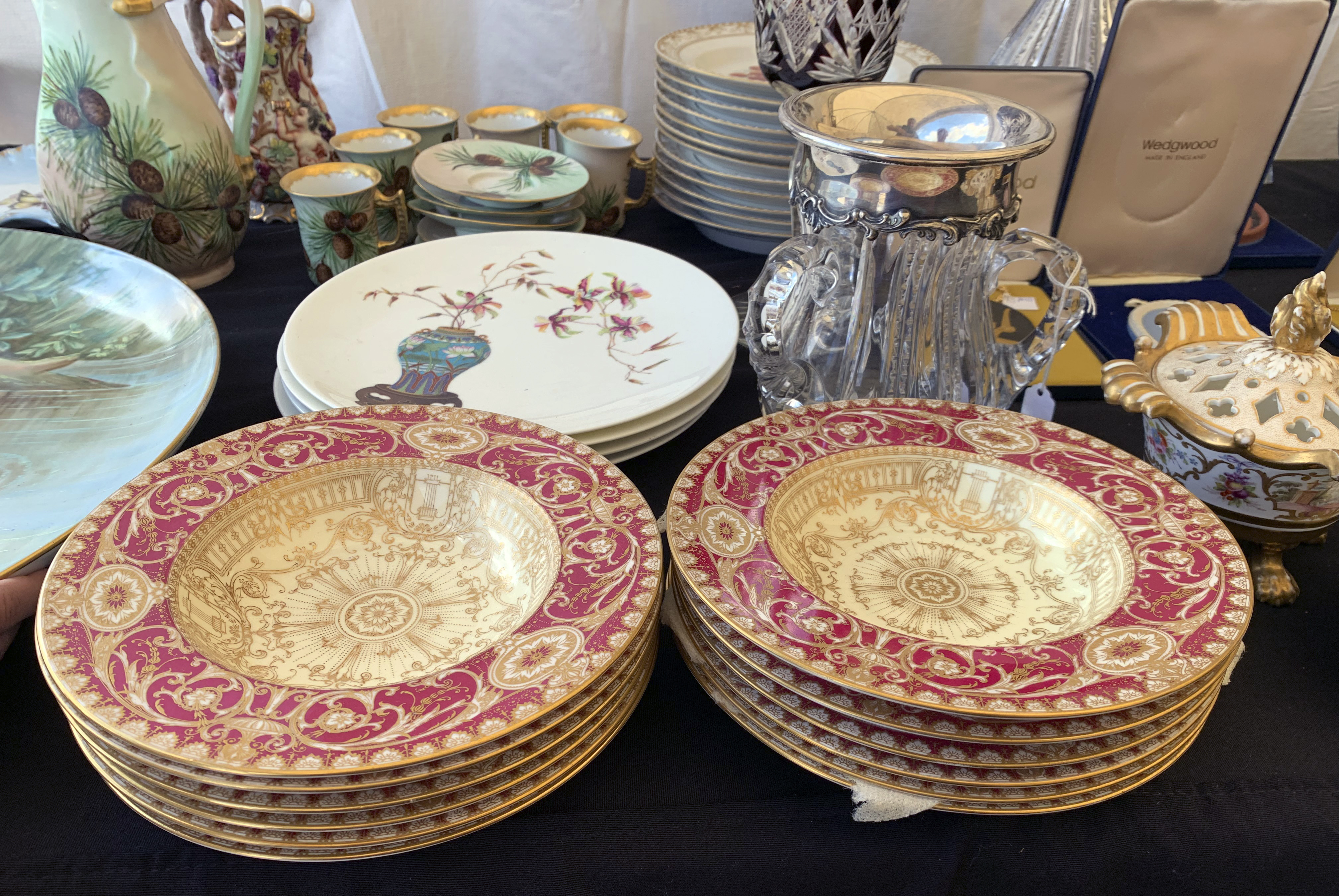 China is up for sale at a flea market in Brimfield, Massachusetts. China has become a staple at flea markets, as younger people opt to sell or donate heirloom dishware.