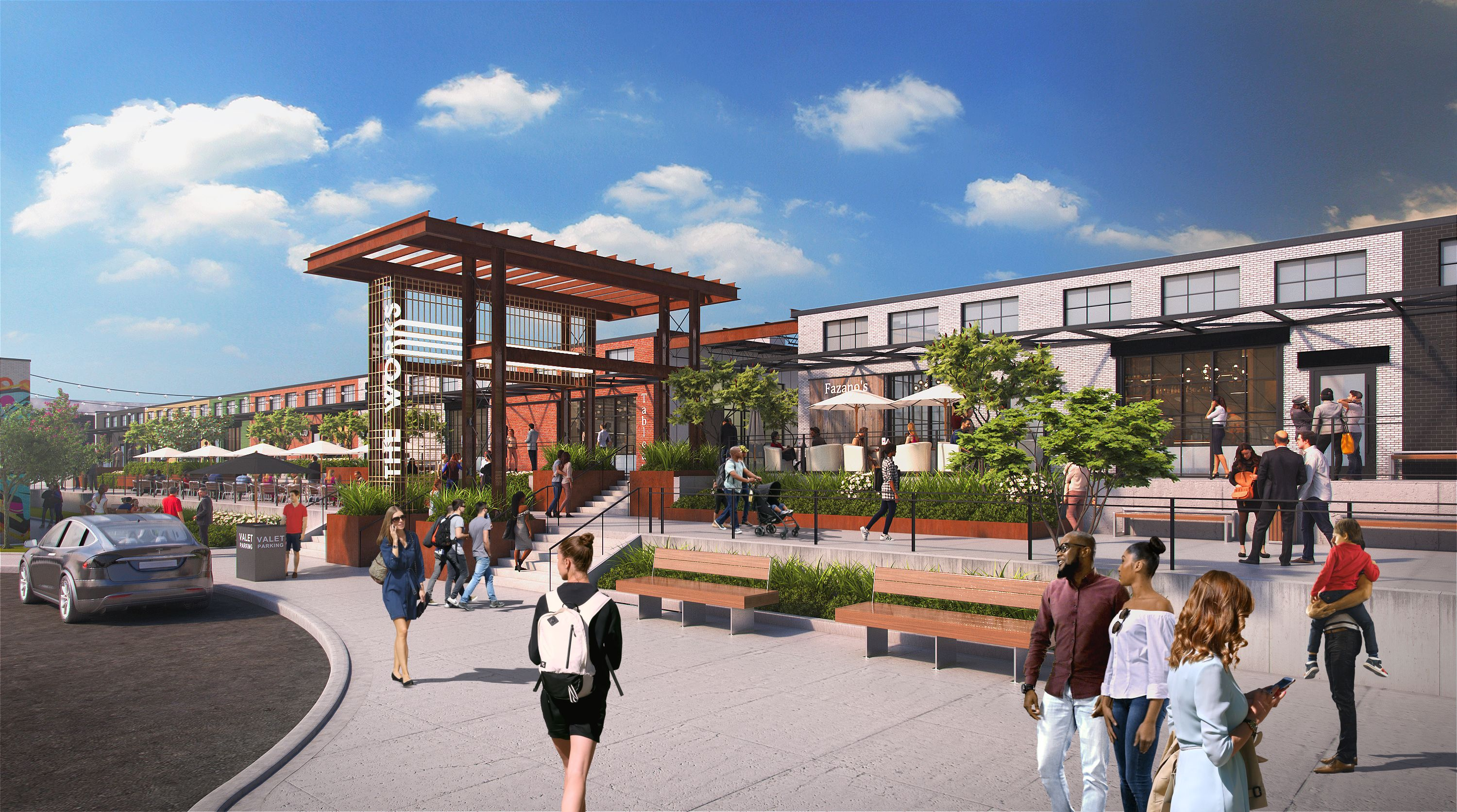 A rendering shows a pedestrian plaza in front of an aging building that's been rehabbed for retail.