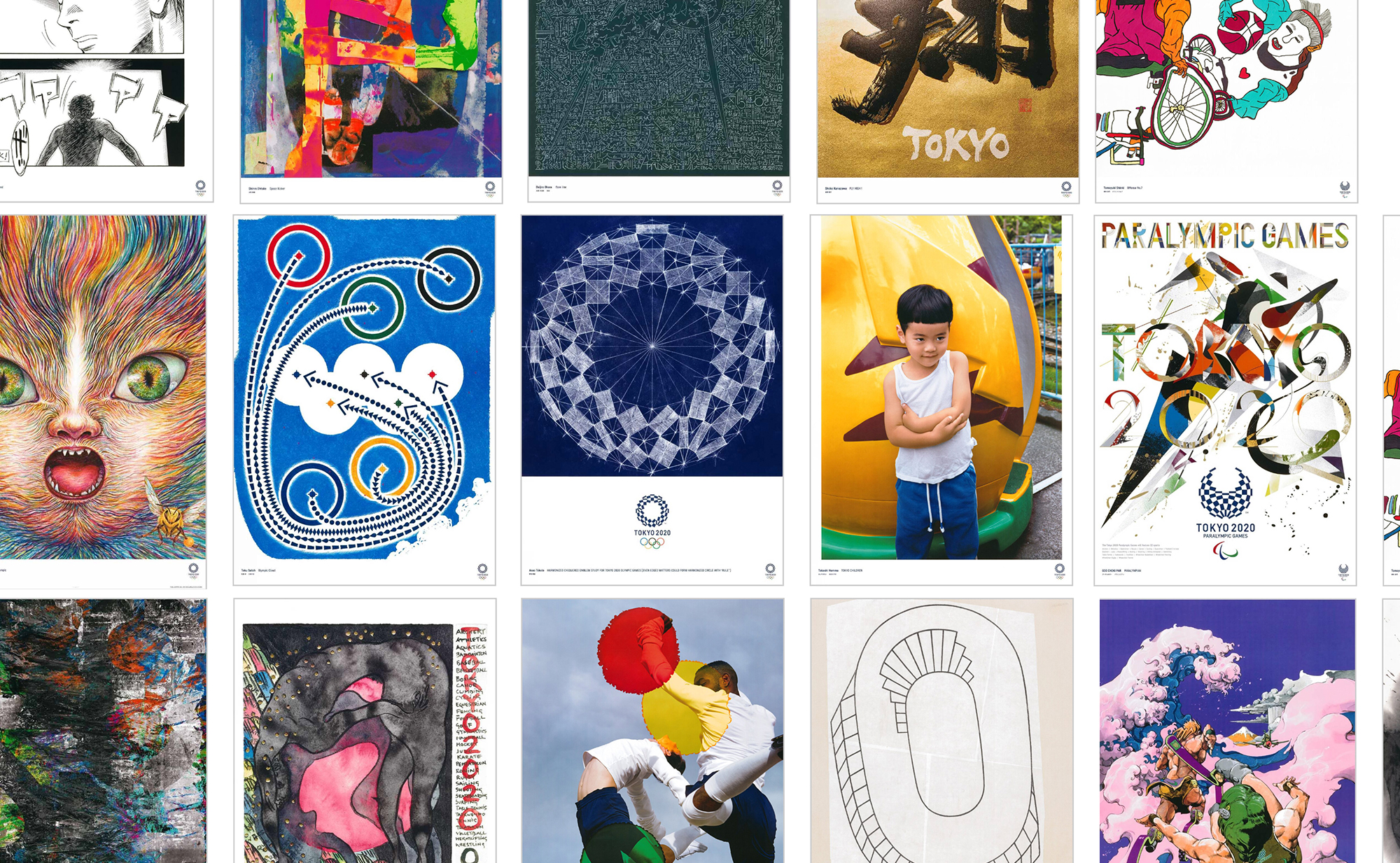 rows of posters created for the 2020 Olympics
