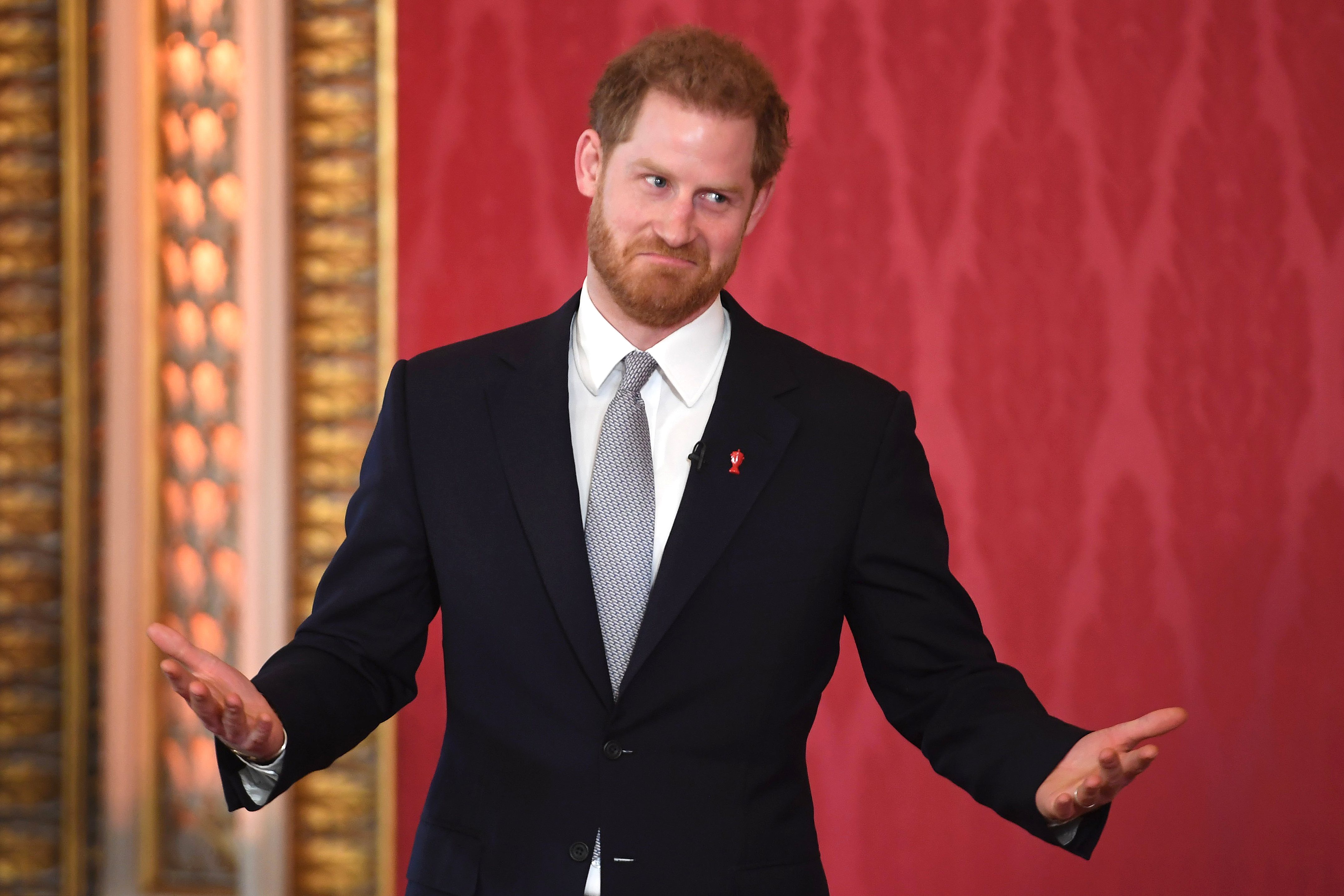 Prince Harry, seen Thursday at Buckingham Palace hosting the draw for the Rugby League World Cup 2021.