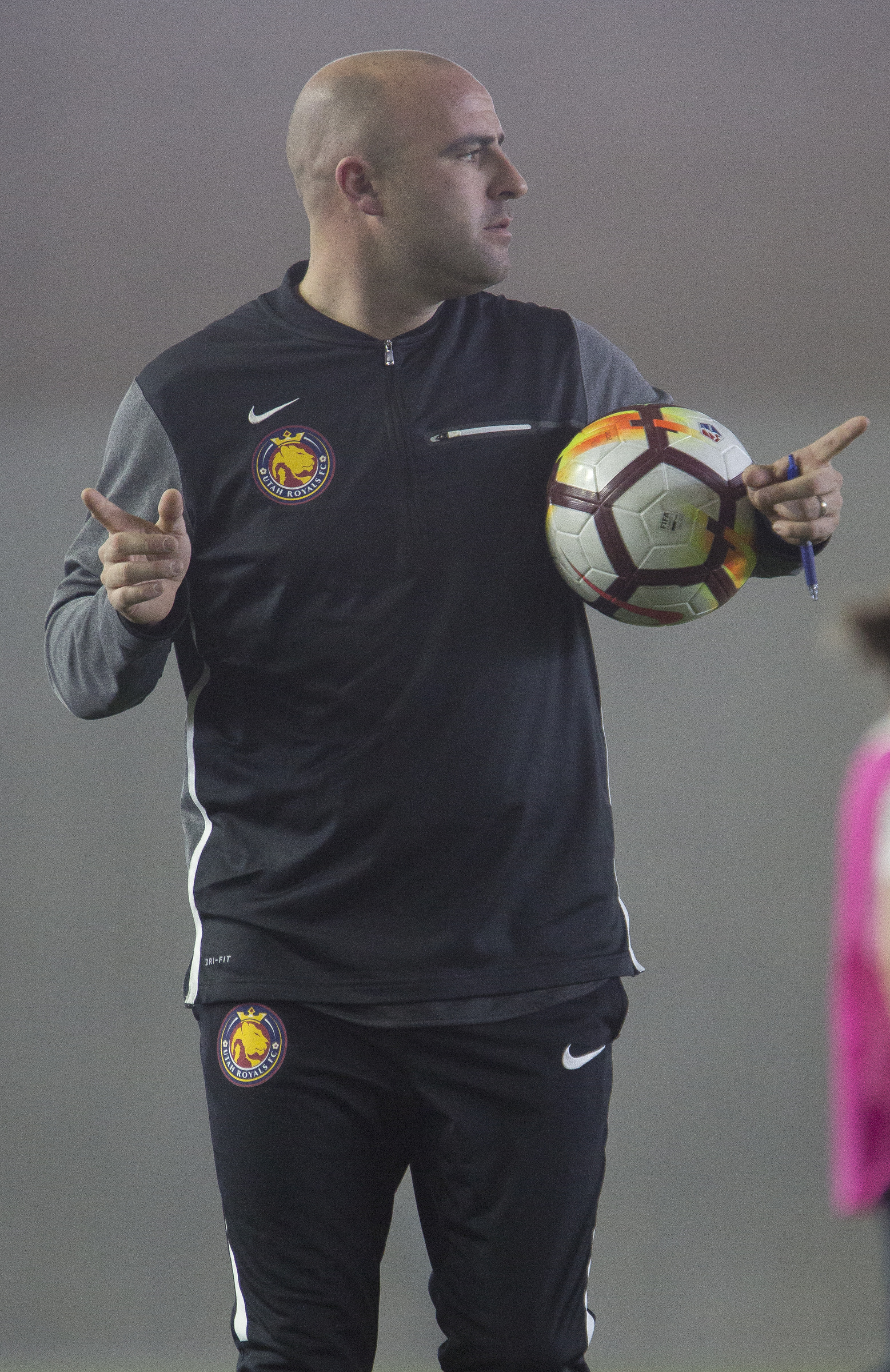 Royals' assistant coach Scott Parkinson speaks during the Utah Royals FC's practice at the Zions Bank Real Academy Training Center in Herriman on Thursday, Feb. 22, 2018.