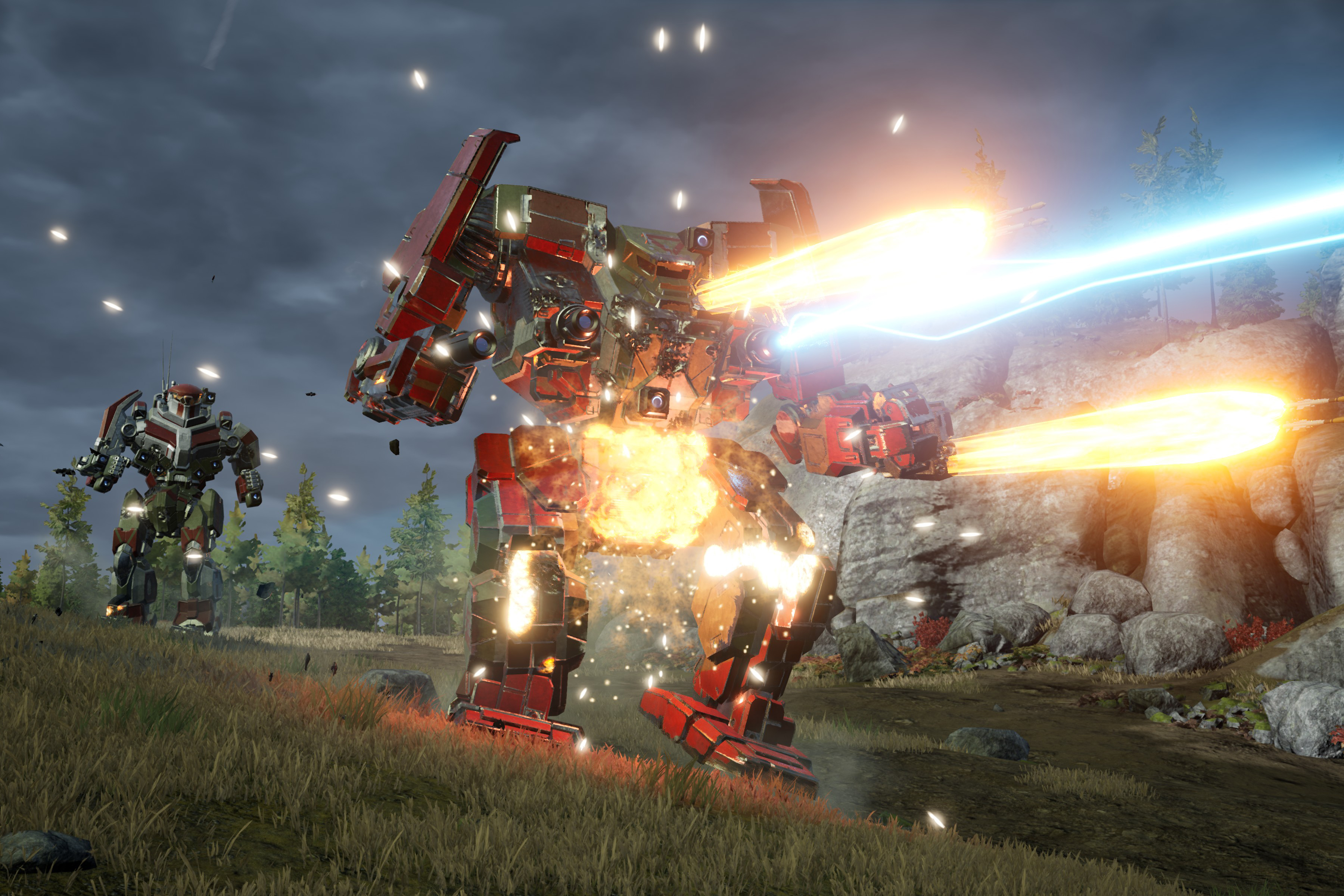 an Awesome-class BattleMech lets loose with a PPC while incoming missiles explode on its torso in MechWarrior 5: Mercenaries