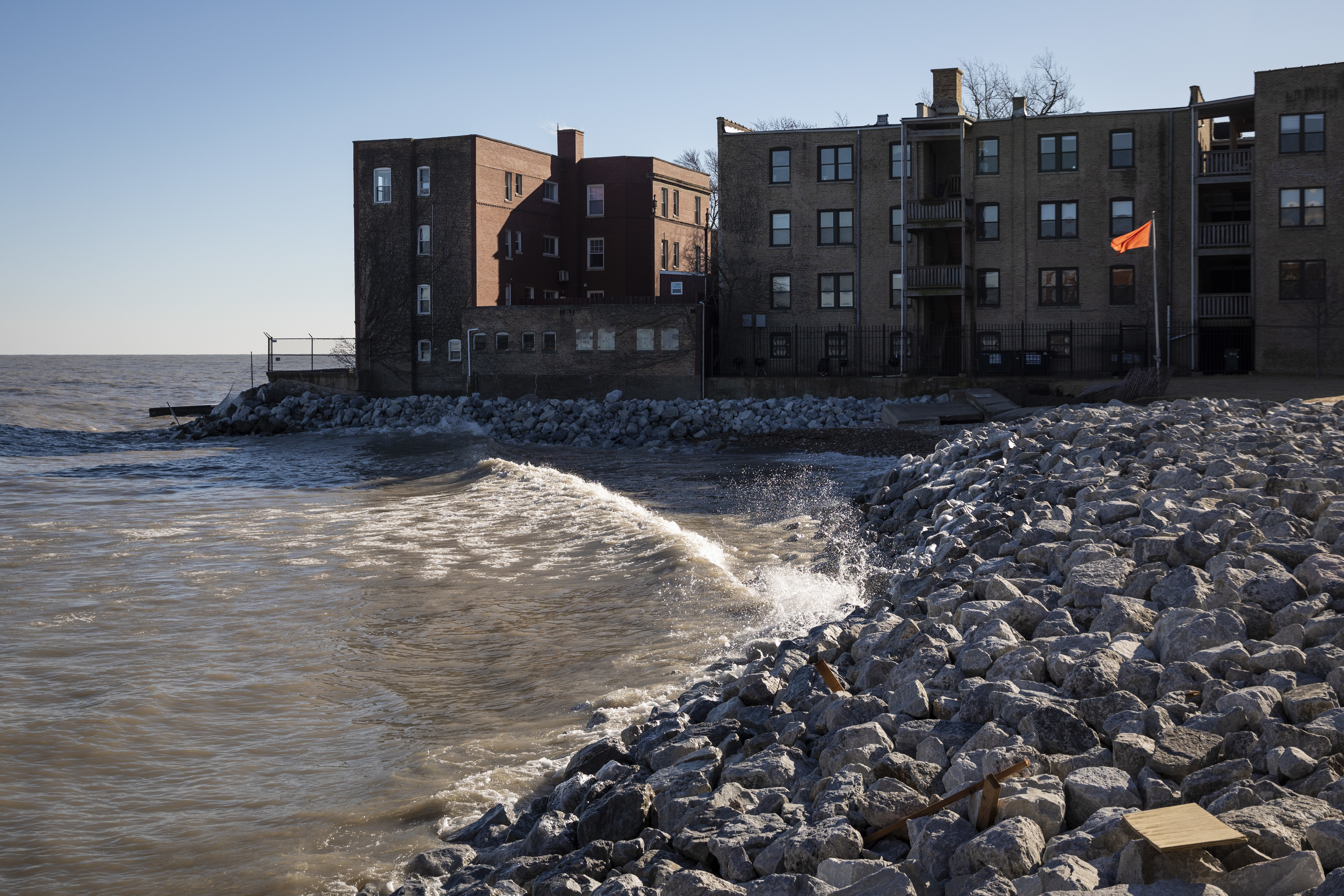 Howard Beach was closed to the public after suffering erosion due to powerful storms in the Chicago area last week, Thursday afternoon, Jan. 16, 2020. Boulders were dumped on the beach as a buffer against on-going erosion.