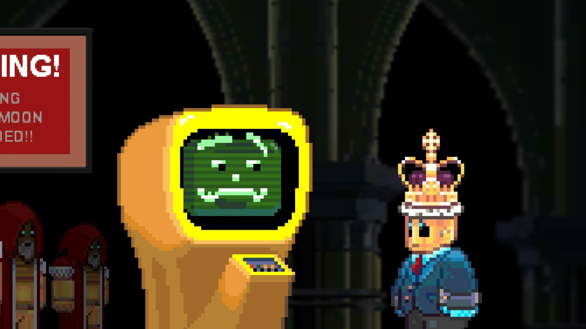 A screenshot from the indie game Horace, with the titular robot wearing a crown while looking at a computer monitor with a face